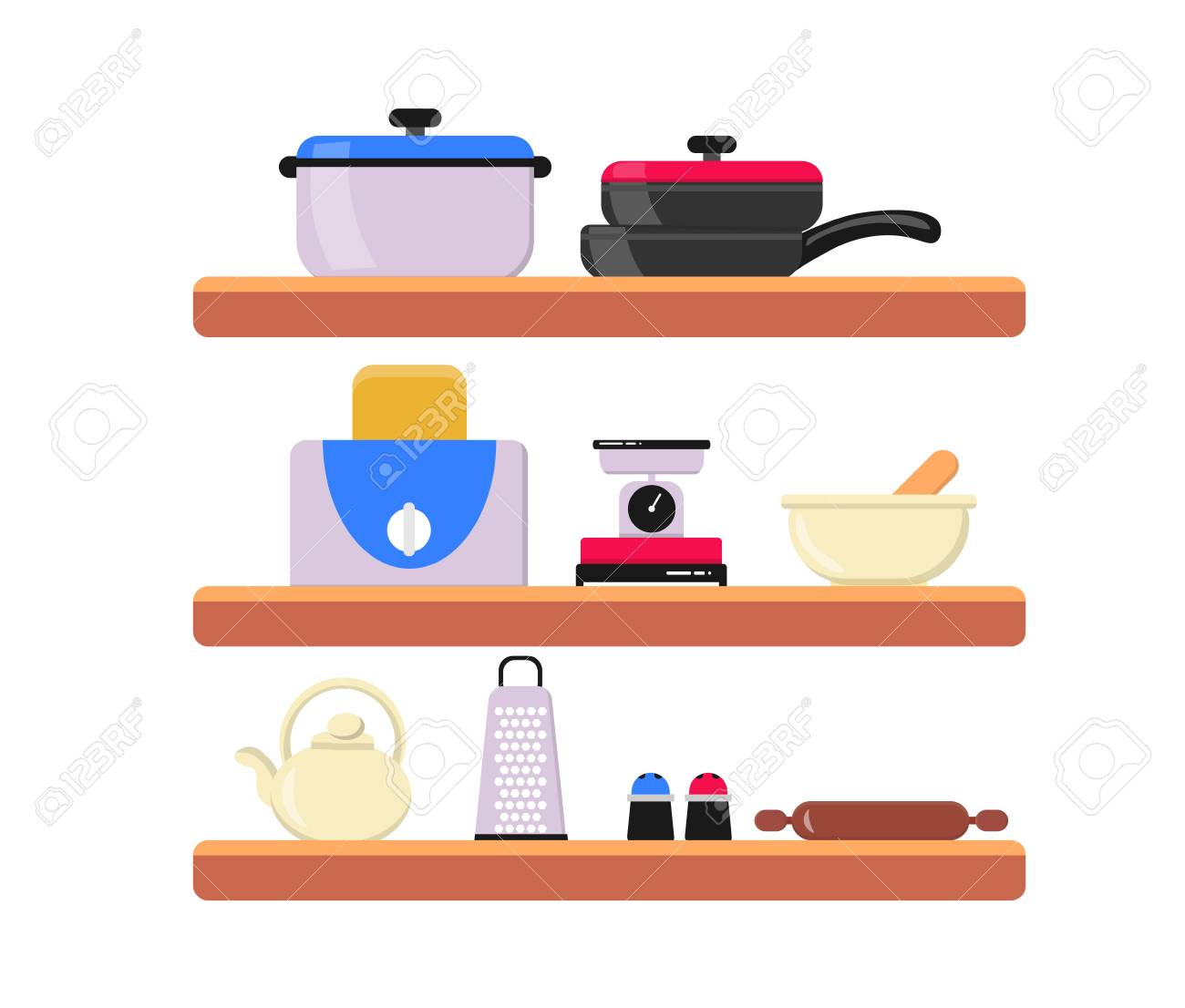 Kitchen Wooden Shelves With Utensils Shelves With Cooking Tools