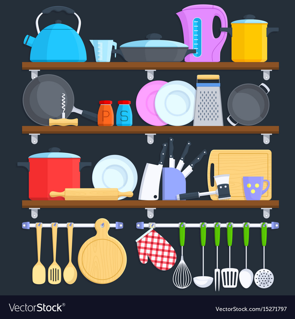 Kitchen Shelves With Cookware And Cooking