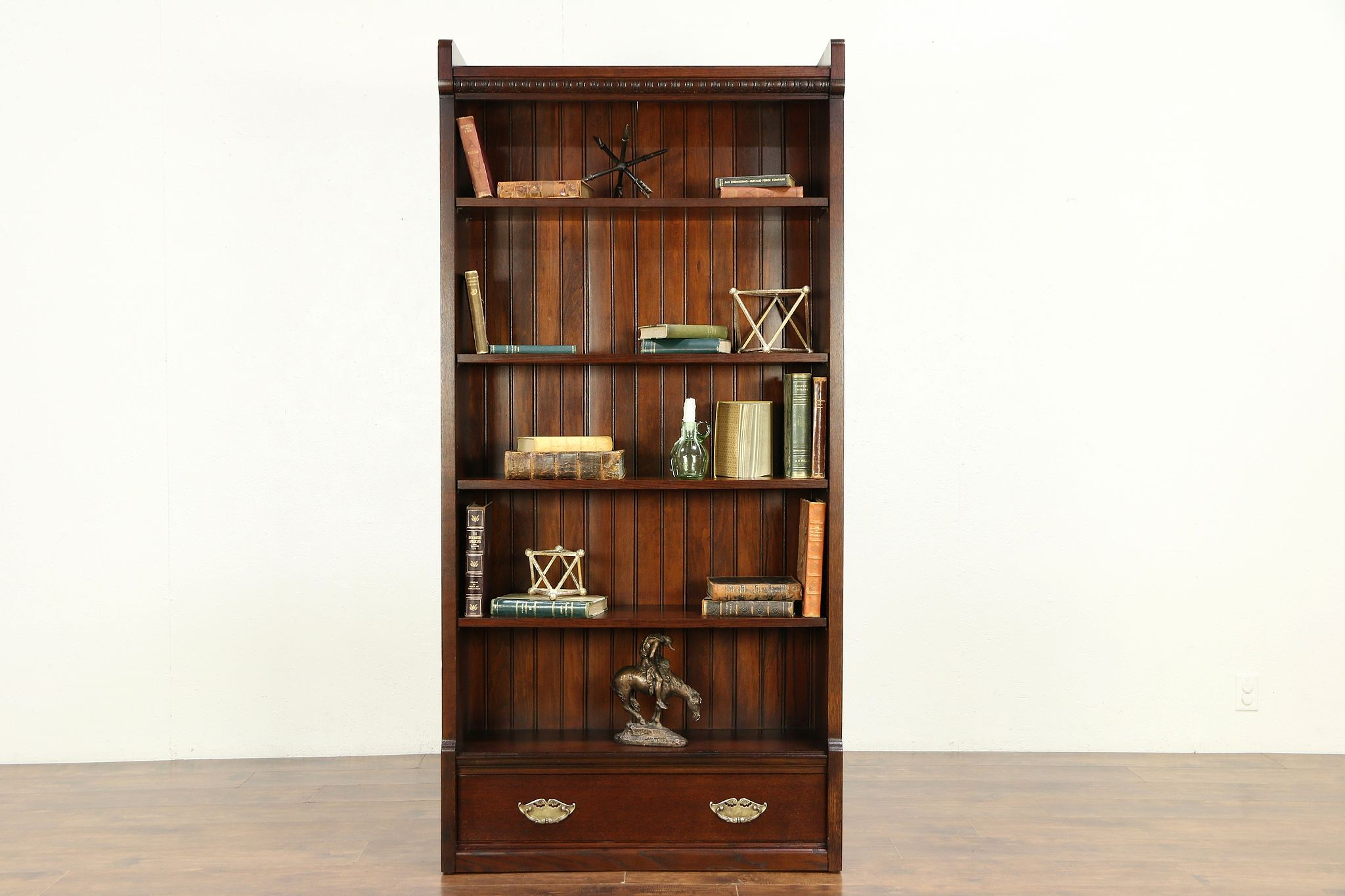 Oak Antique Bookcase, Shelf Or Bath Cabinet, Drawer & Adjustable Shelves  #30111