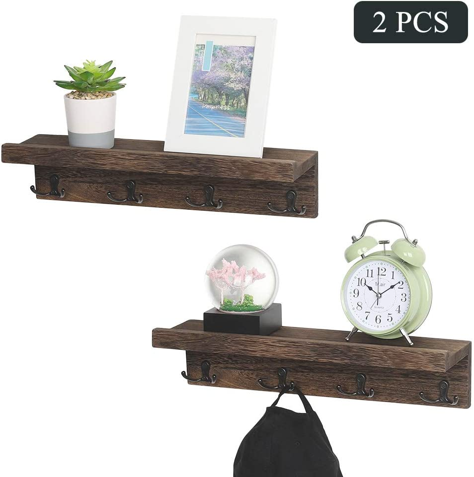 Coat Racks With 4 Double Metal Hooks And Wood Shelf, Piece Of 2 Entryway  Hanging Coat Rack Wall Mounted Floating Storage Shelves For Scarfs Bags Hat