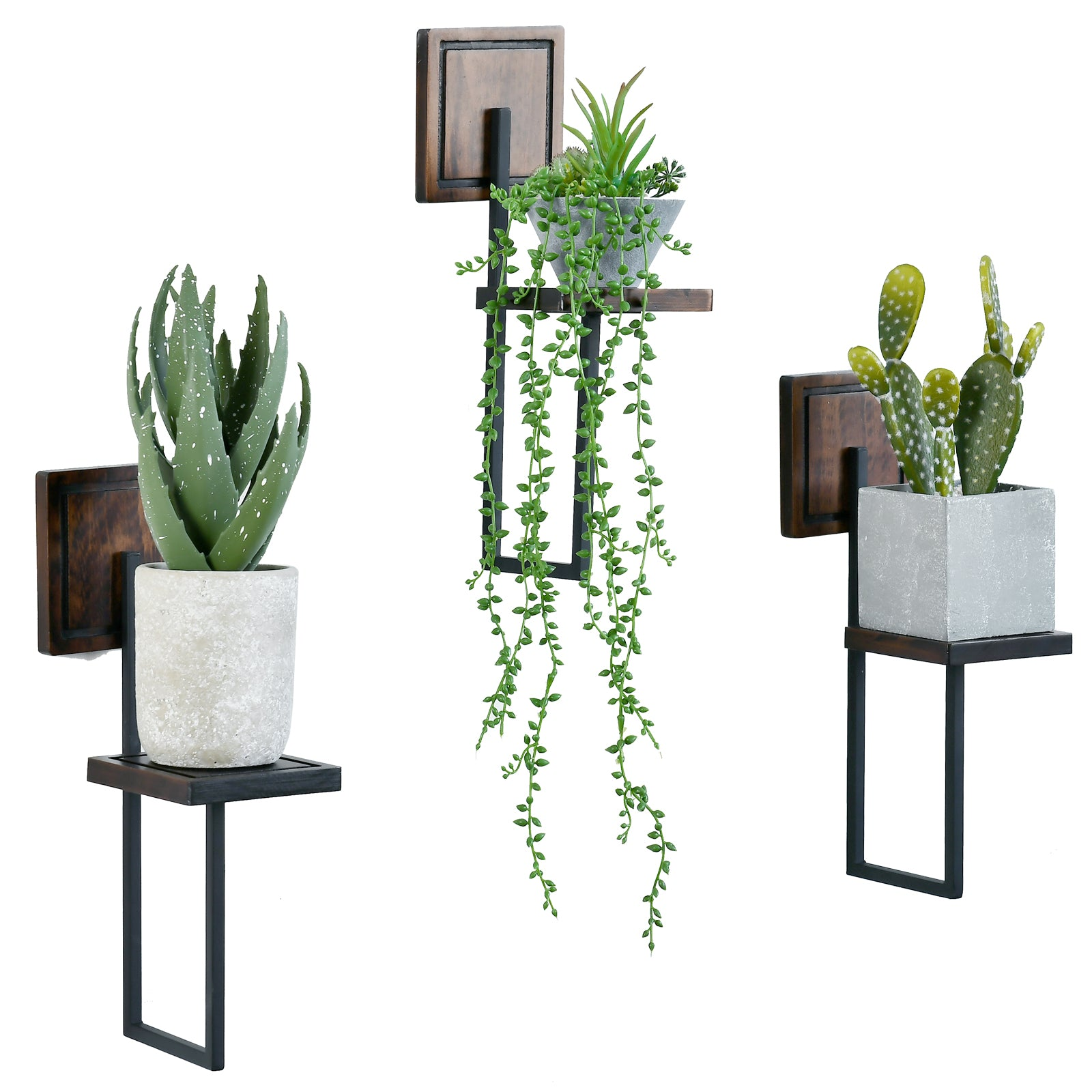 Yukon Rustic Wood Wall Plant Shelves Wall Plant Flower Pot Holder  Sconce/candle Holder Set Of 3