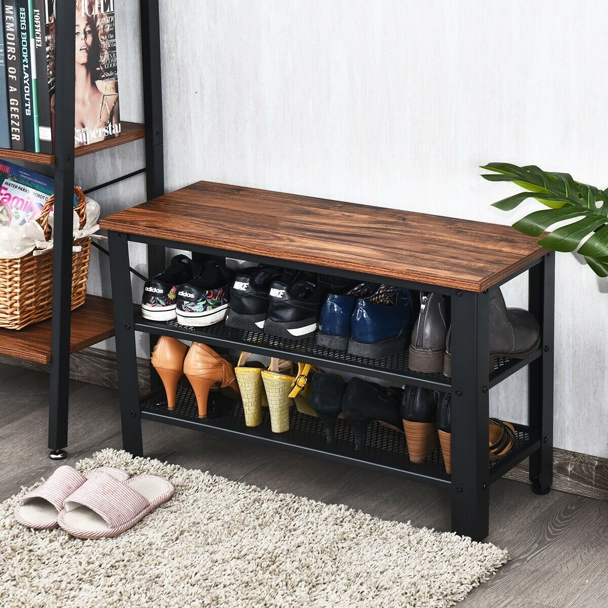 3-tier Shoe Rack Industrial Shoe Bench With Storage Shelves