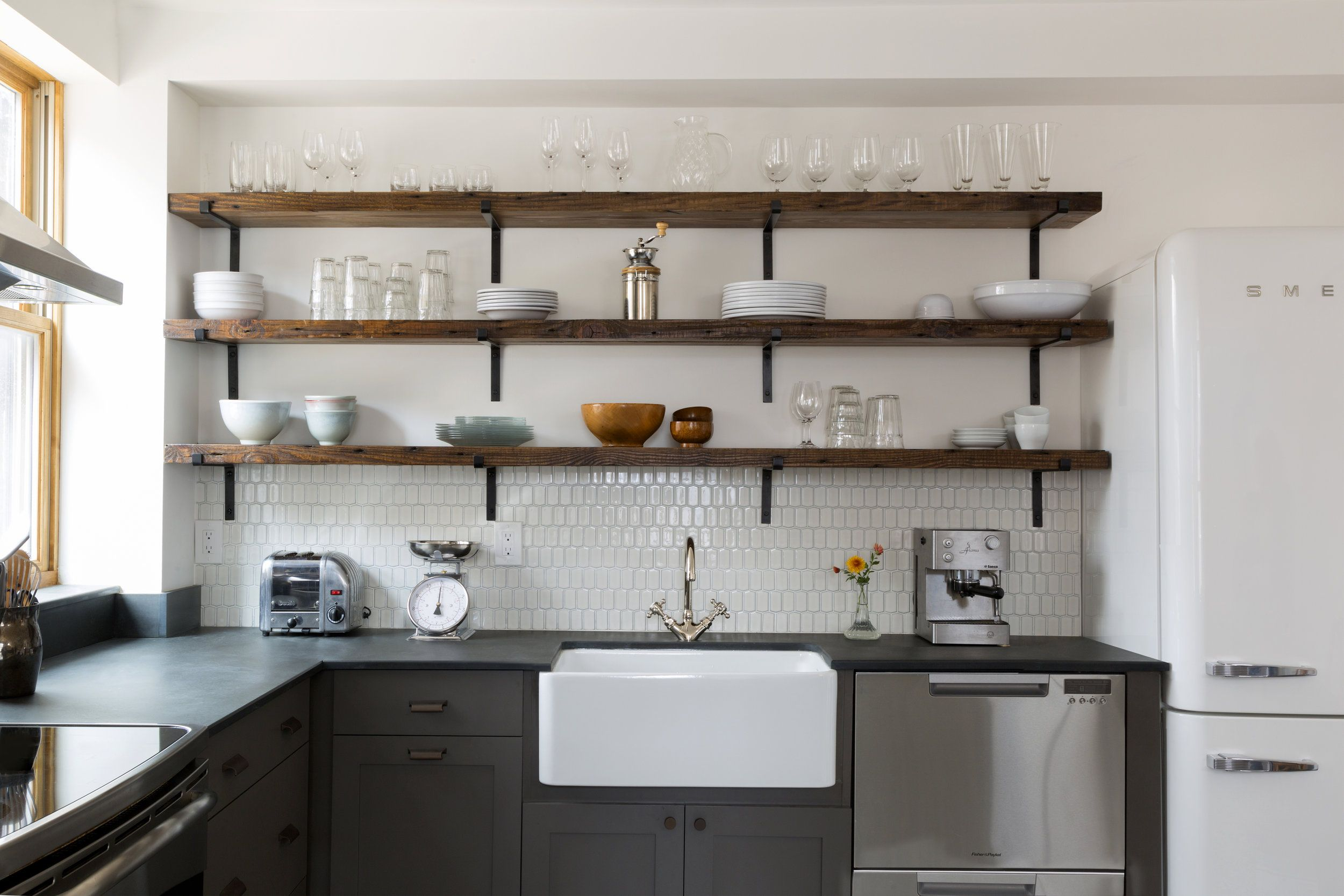Sweet Open Shelves And Green Painted Base Cabinets - Meg