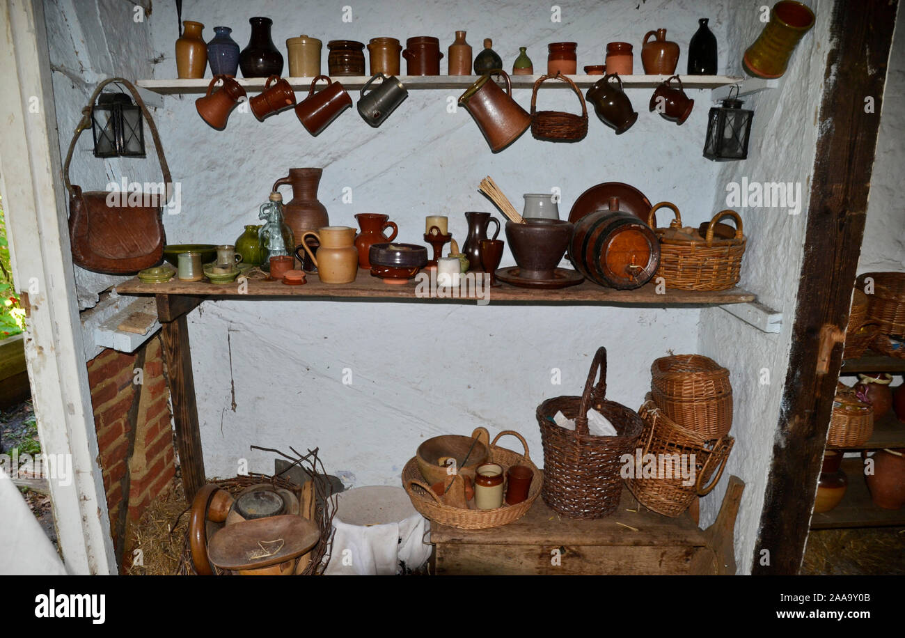 Kitchen Shelves Inside A House In The 17th Century Village