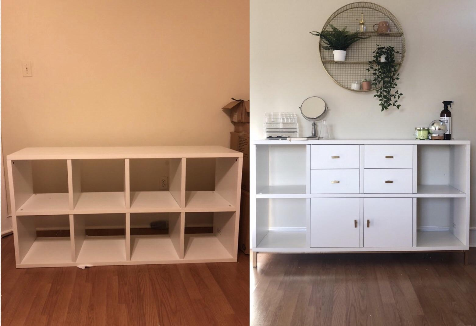 Old College Cube Shelves To Fancy Adult Dresser! : Upcycling