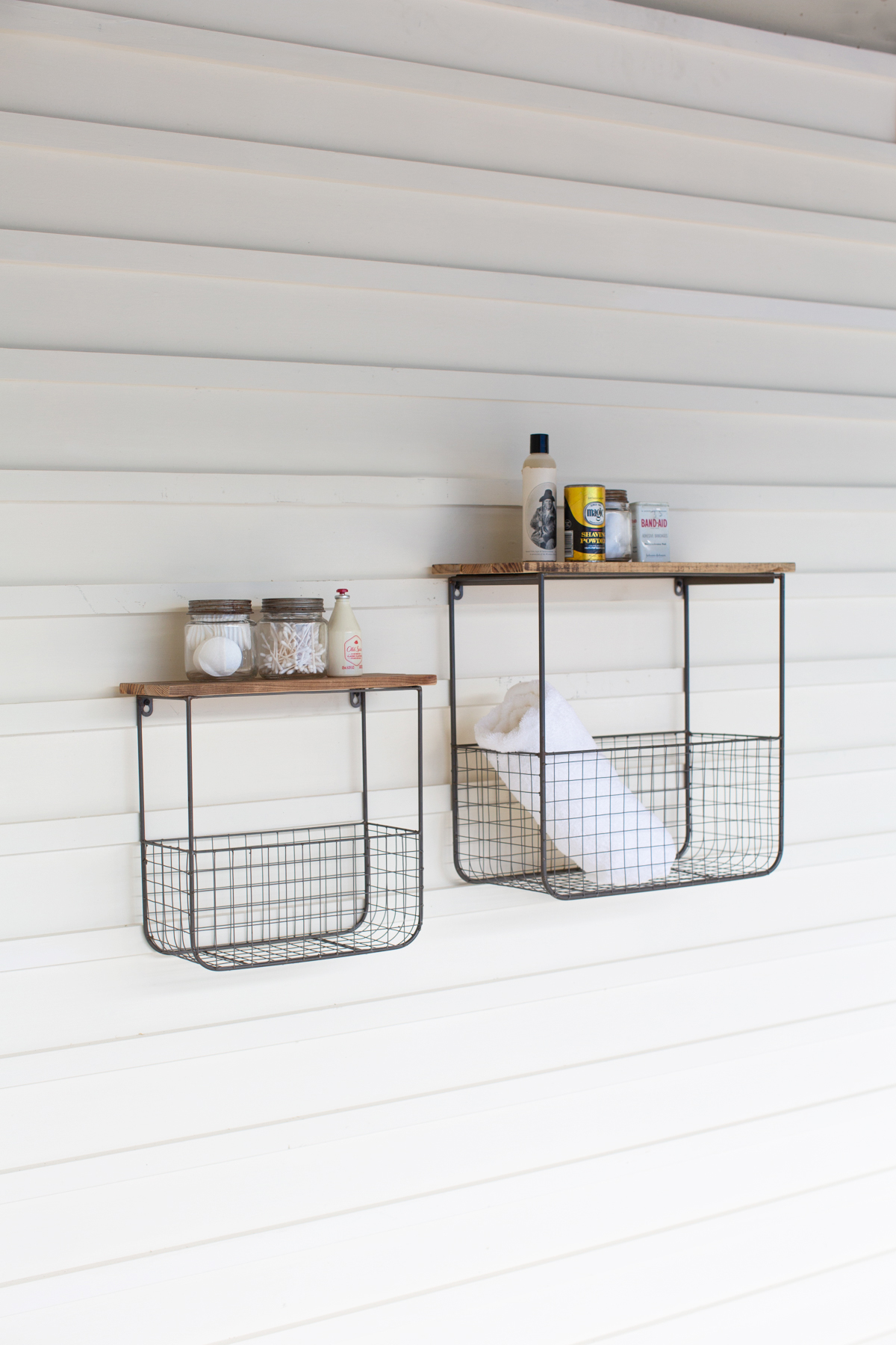 """Details About Kalalou Cq7385 20"""" Wire Basket Shelves W/ Recycled Wood Tops,  Set Of 2"""