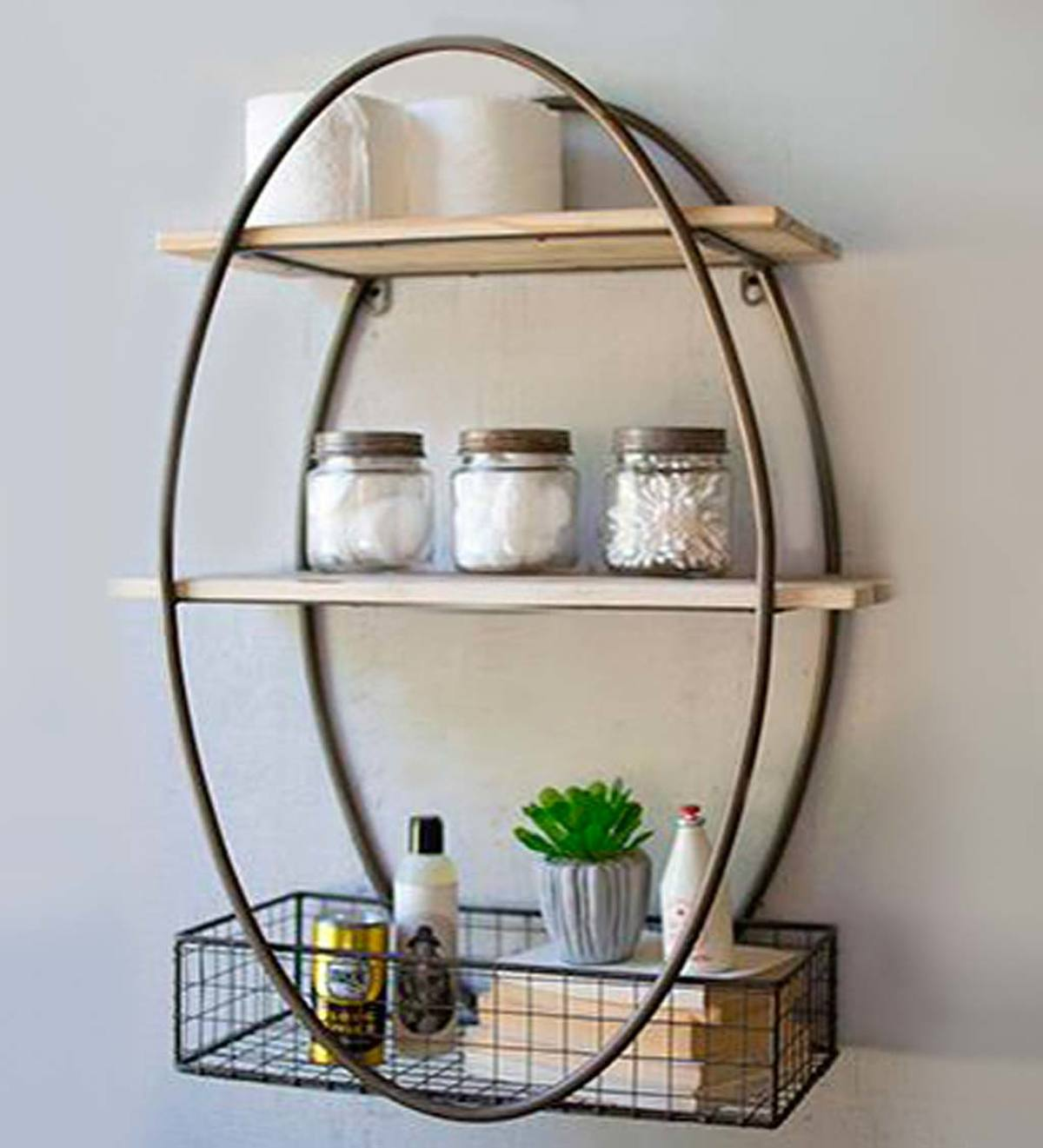 Oval Metal Wall Unit With Recycled Wood Shelves | Vivaterra