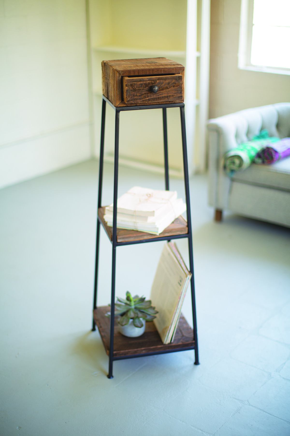Three Tiered Iron Tower With Recycled Wood Shelves & Drawer
