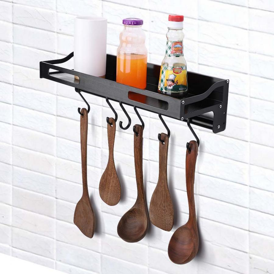 Us $1519 31% Off|40cm Wall Mounted Kitchen Shelves Or Hanging Pots And  Pans Rack Kitchen Storage Pot Holder All Kinds Of Spoons For Seasoning-in