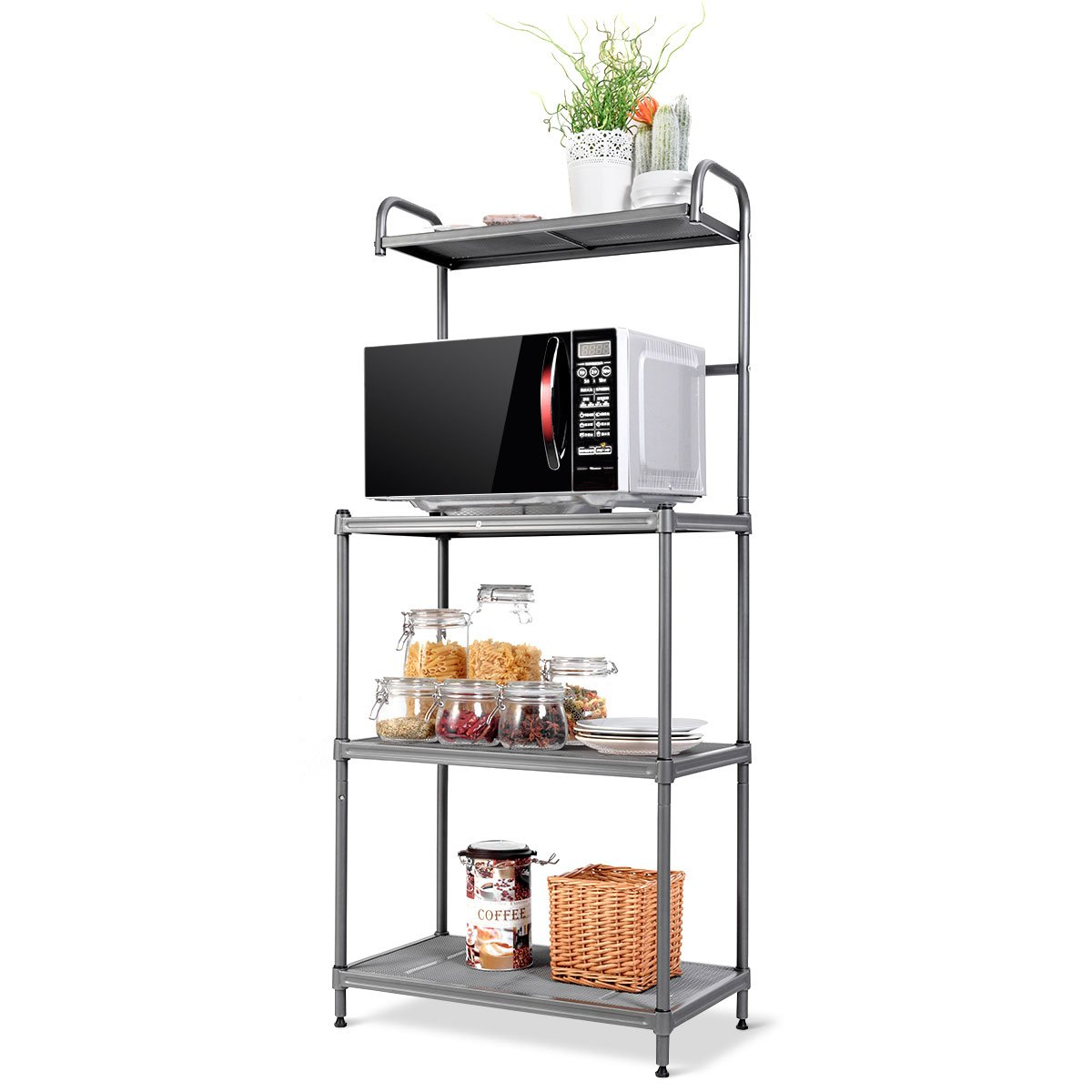 """Giantex 4-tier Kitchen Microwave Storage Rack Oven Stand Strong Mesh Wire  Metal Shelves Free Standing Baker's Rack Shelving Utility Unit, 235"""" Lx14"""