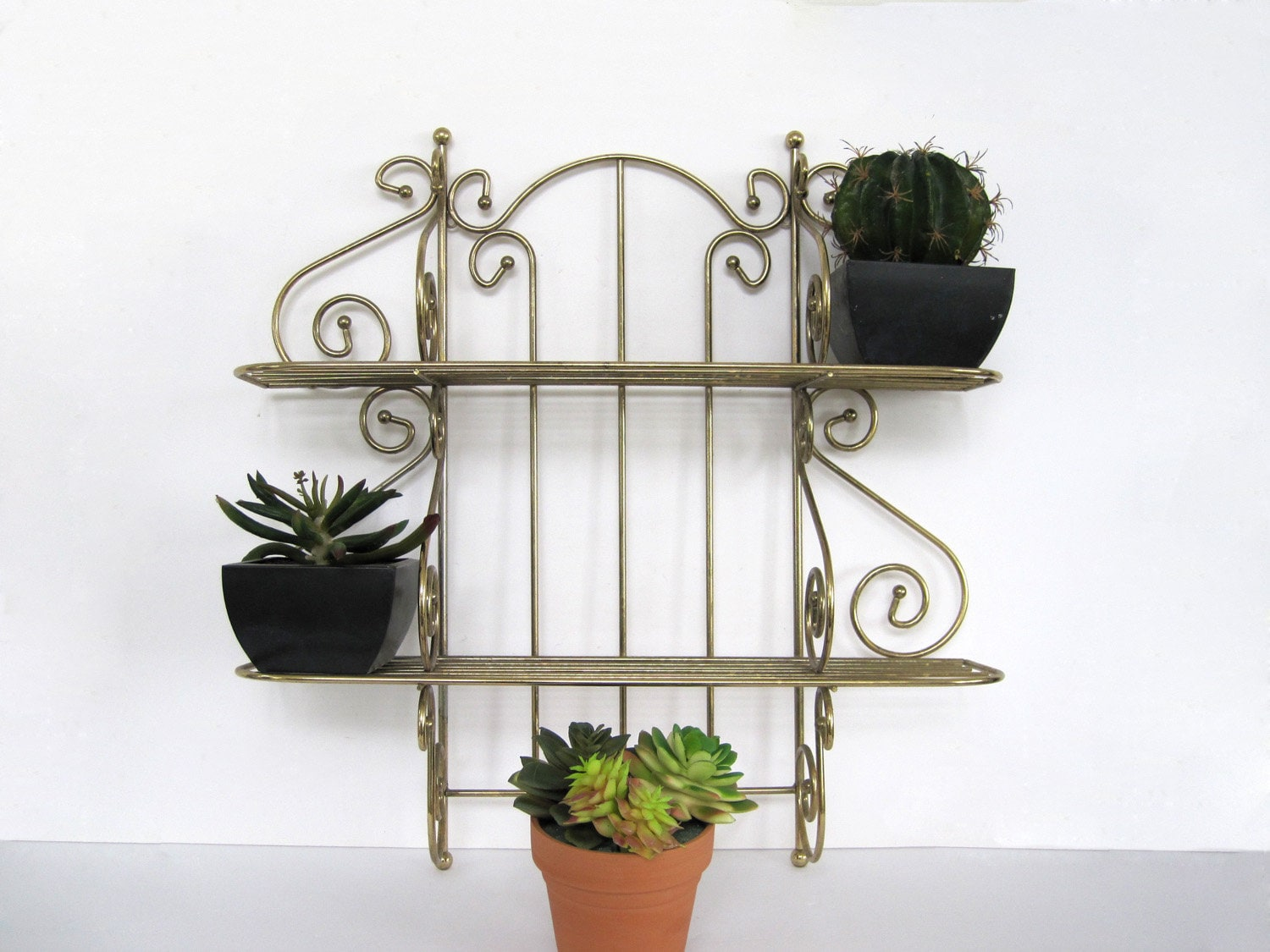 Vintage Metal Wall Shelf Two Tier Bathroom Plant Nursery Strong Gold Wall  Shelves Tiered
