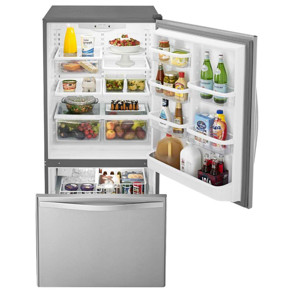 Whirlpool 22 Cu Ft Bottom Freezer Refrigerator In Stainless Steel With  Spill Guard Glass Shelves
