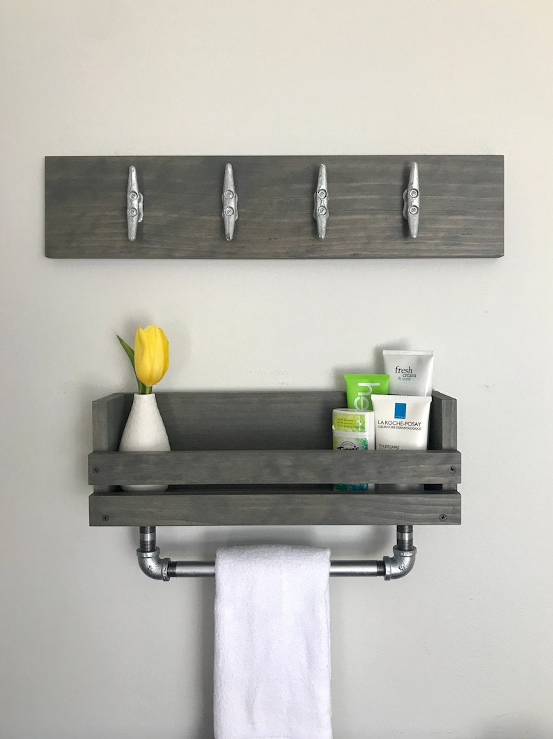 Bathroom Set Shelf With Towel Galvanized Bar And Towel Rack With Boat  Cleats Industrial Nautical Bathroom Storage Shelves Towel Holder Pipe
