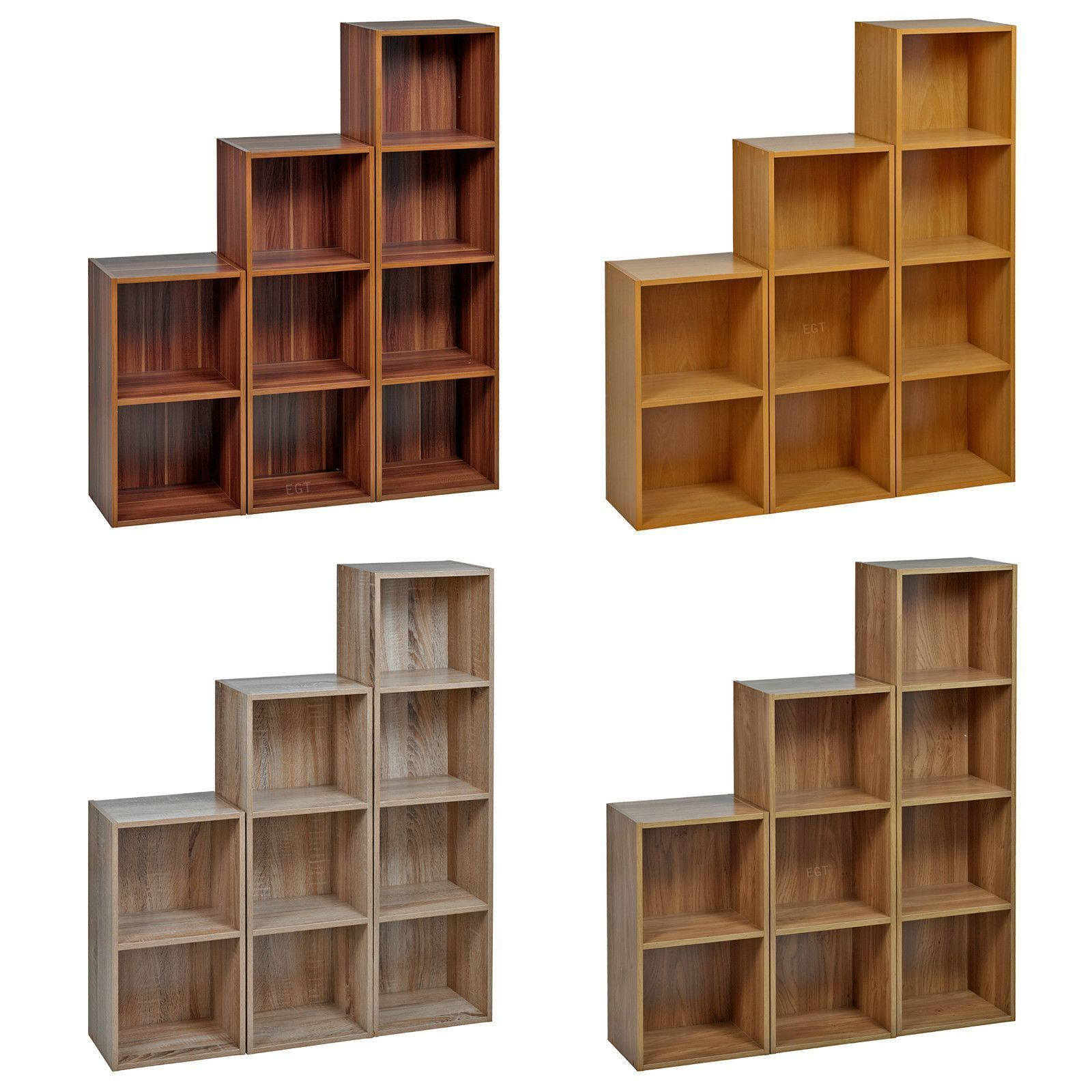 Details About 2, 3, 4 Tier Wooden Bookcase Shelving Display Storage Wood  Shelf Shelves Units