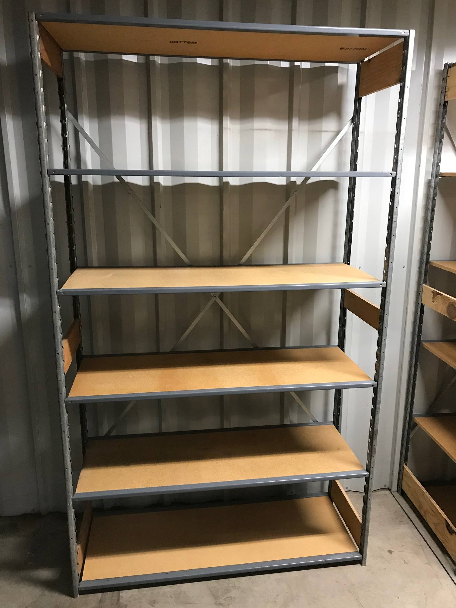 """18""""x 48"""" (84"""" Tall) - Lozier Steel/wood Shelving With 6 Shelves - Used"""