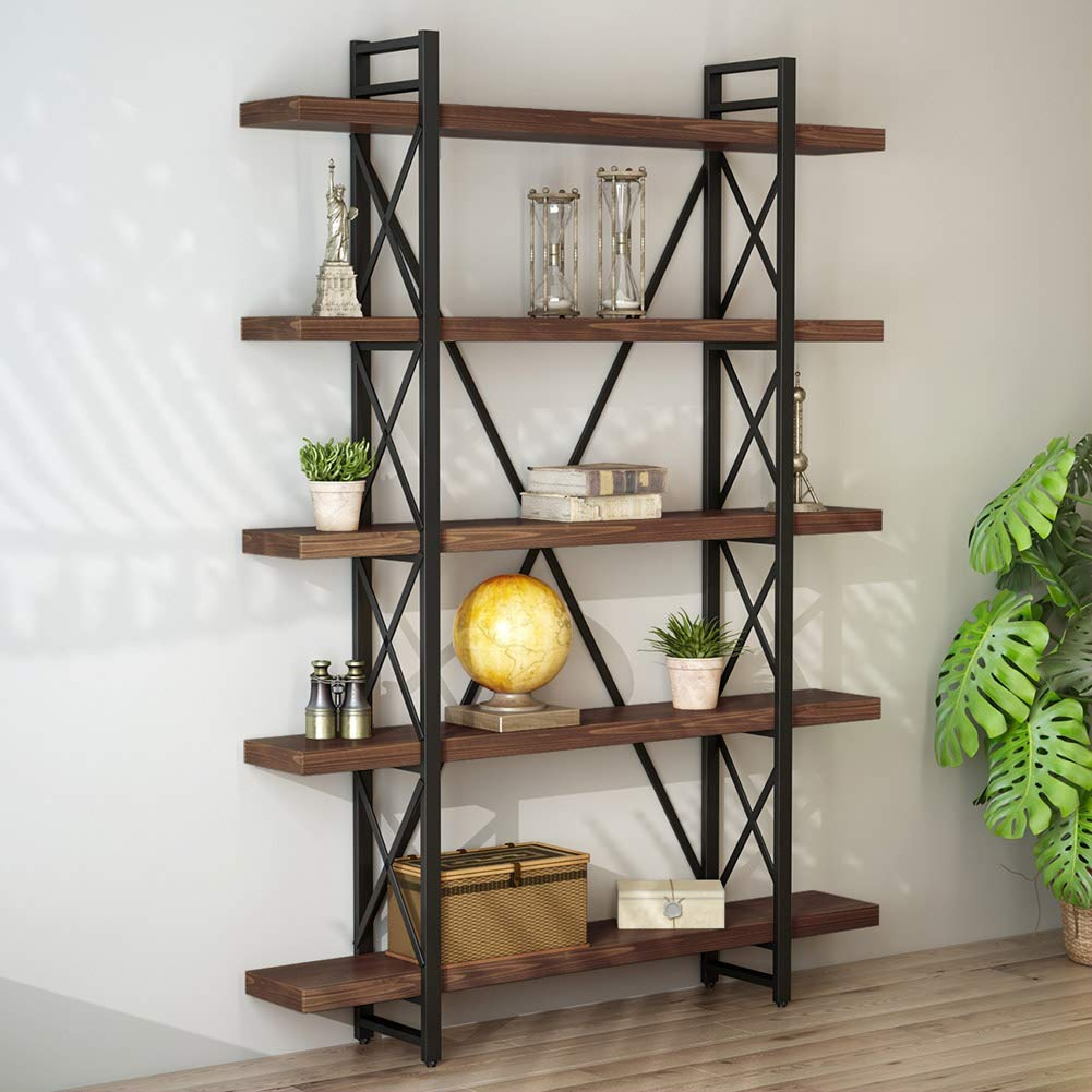 Little Tree Solid Wood 5 Shelf Industrial Style Bookcase And Book Shelves,  Metal And Wood Free Vintage Standing Storage Shelf Units