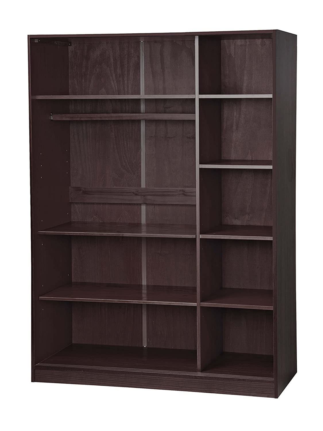 """100% Solid Wood 3-sliding Door Wardrobe/armoire/closet/mudroom Storage By  Palace Imports 5676 Java, 52"""" Wx 72"""" Hx 225"""" D 1 Large/4 Small Shelves, 1"""