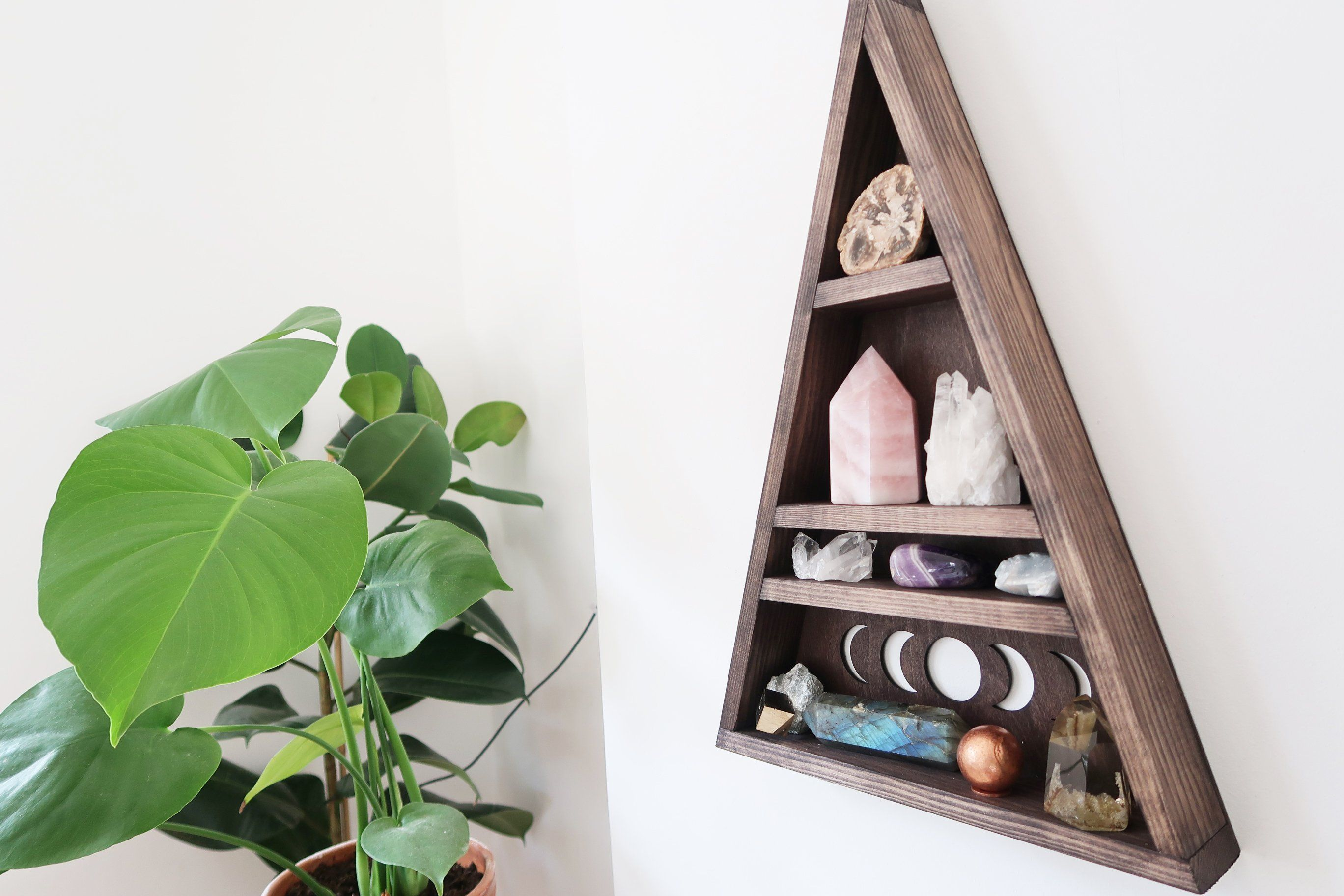 Moonphase Triangle Shelf | Modern Witch In 2019 | Crystal Shelves