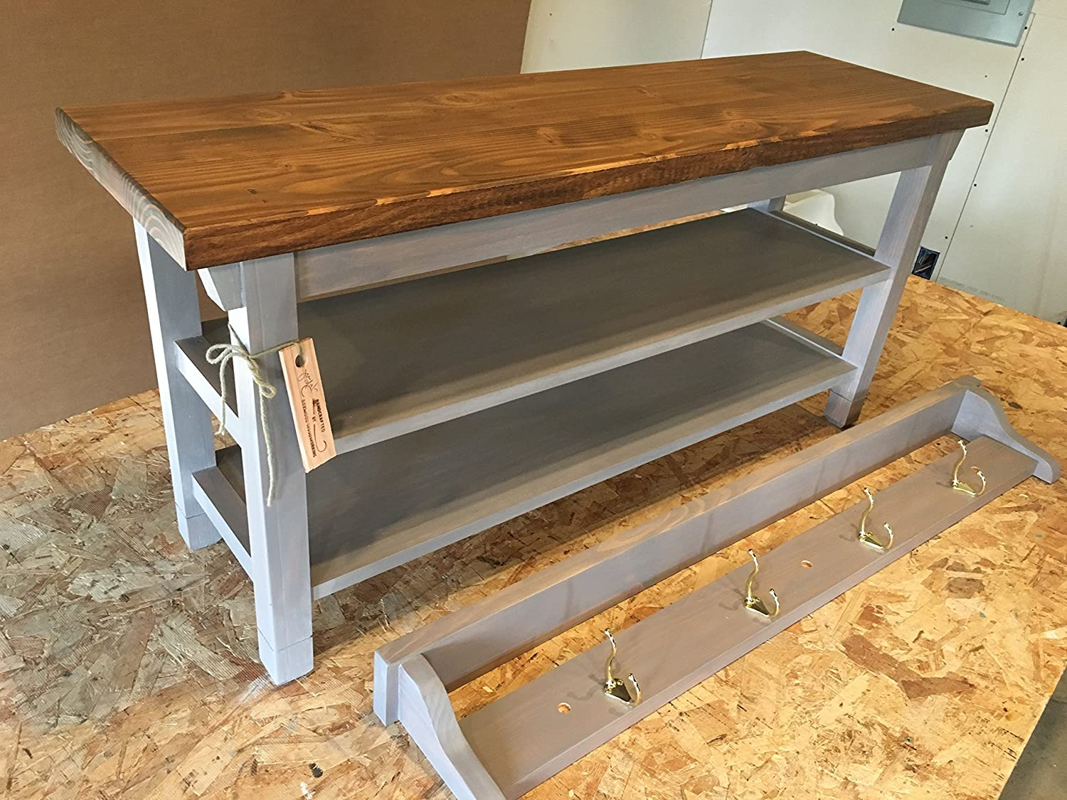 "Hallway / Mud Room / Foyer Bench (38"")with Two Shoe Shelves And Matching  36"" Coat Rack/ Shelf"