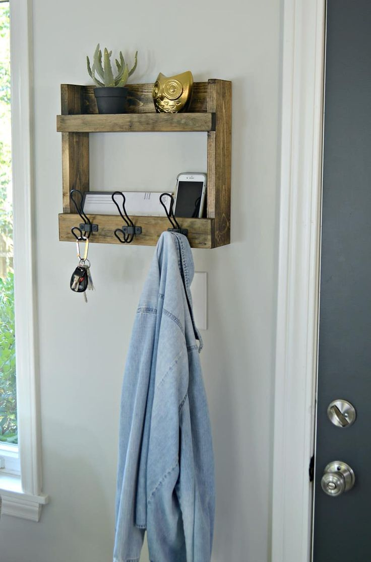 Rustic Wall Mounted Coat Rack With Shelves - Perfect For Small