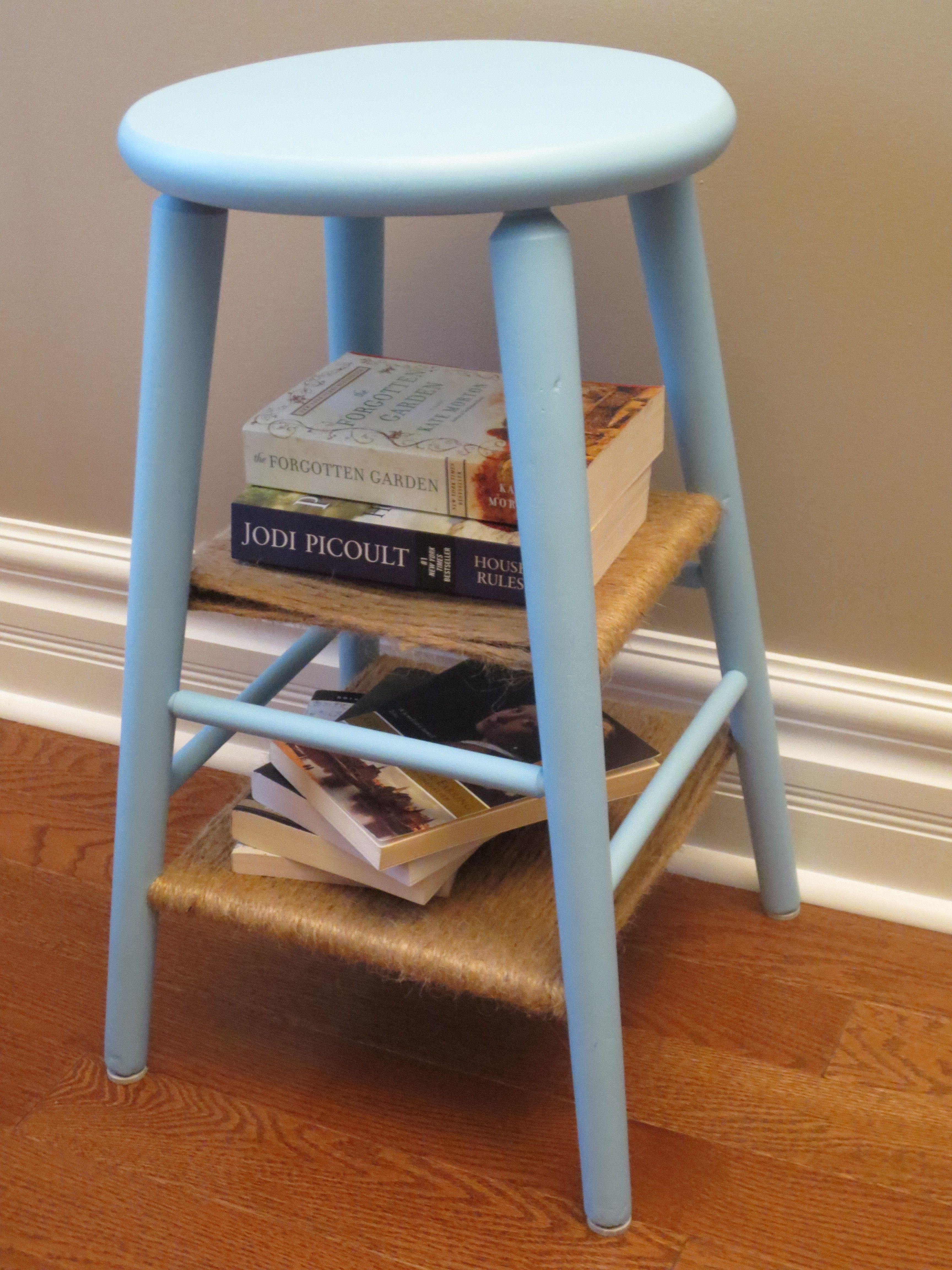 Robin's Egg Blue Side Table With Twine Shelves - Made From Upcycled