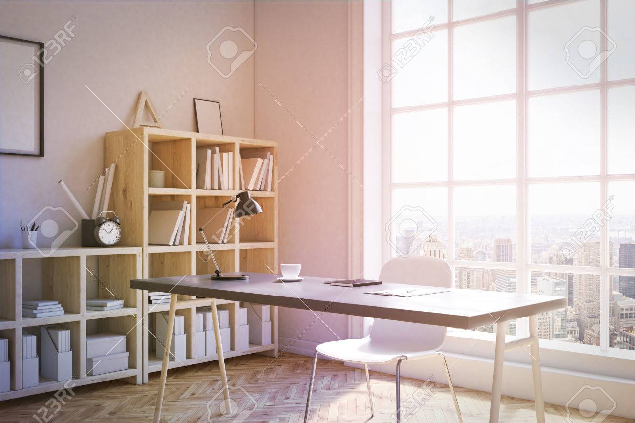 Study Room Corner Interior With Shelves, Writing Table And Big