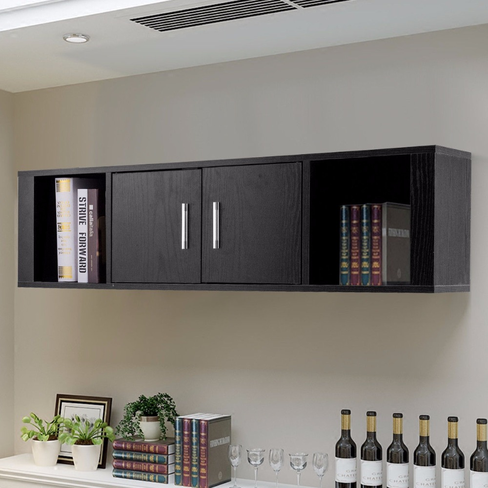 Us $5699 |giantex Wall Mounted Floating Desk Hutch Wall Shelf Cabinet  Storage Shelves 2 Door Home Furniture Hw59053-in Bookcases From Furniture  On