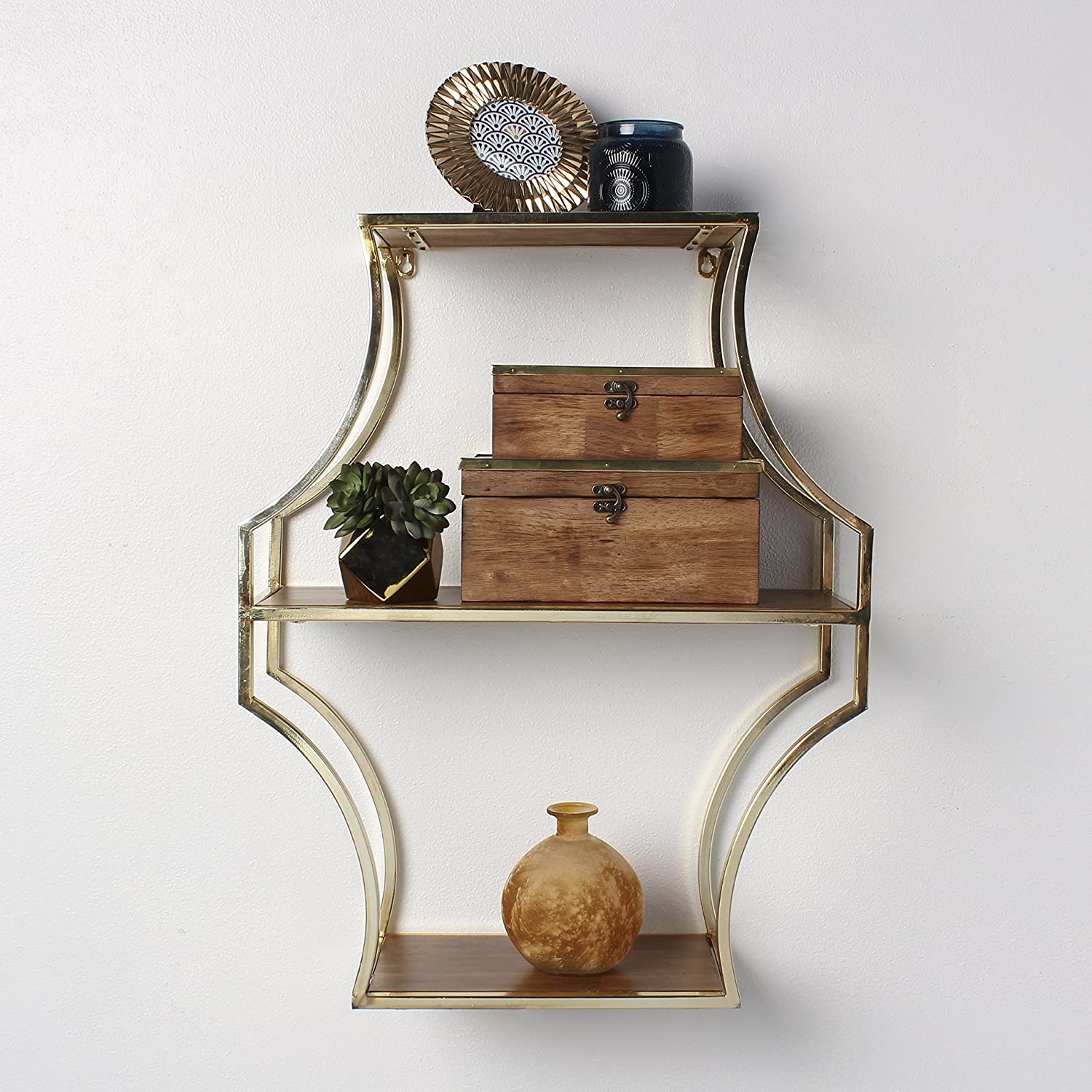 Kate And Laurel Liara Wood And Metal Scalloped Wall Shelf 3 Shelves Walnut  Brown And Gold