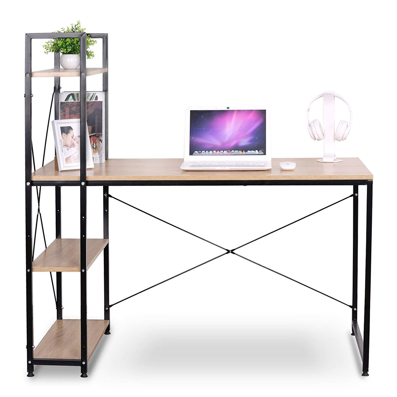 Us $8013 25% Off|portable Corner Computer Desk For Small Spaces With Wood  4 Shelves Storage Office Home Desks Laptop Table-in Laptop Desks From