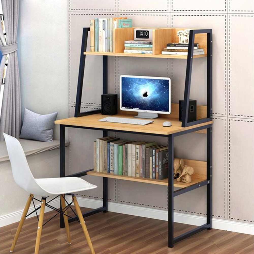 Us $11862 5% Off|modern Computer Desk With 2 Tier Shelves Pc Workstation  Study Table Home Office White/yellow Choose-in Laptop Desks From Furniture
