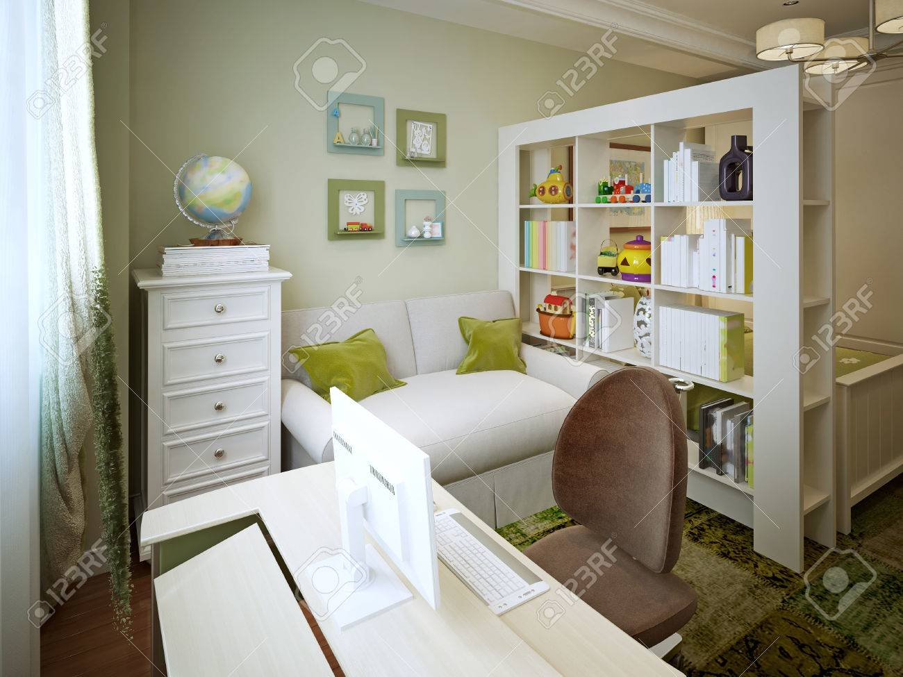 Children's Room For The Boy's Bed With Shelves And A Desk 3d