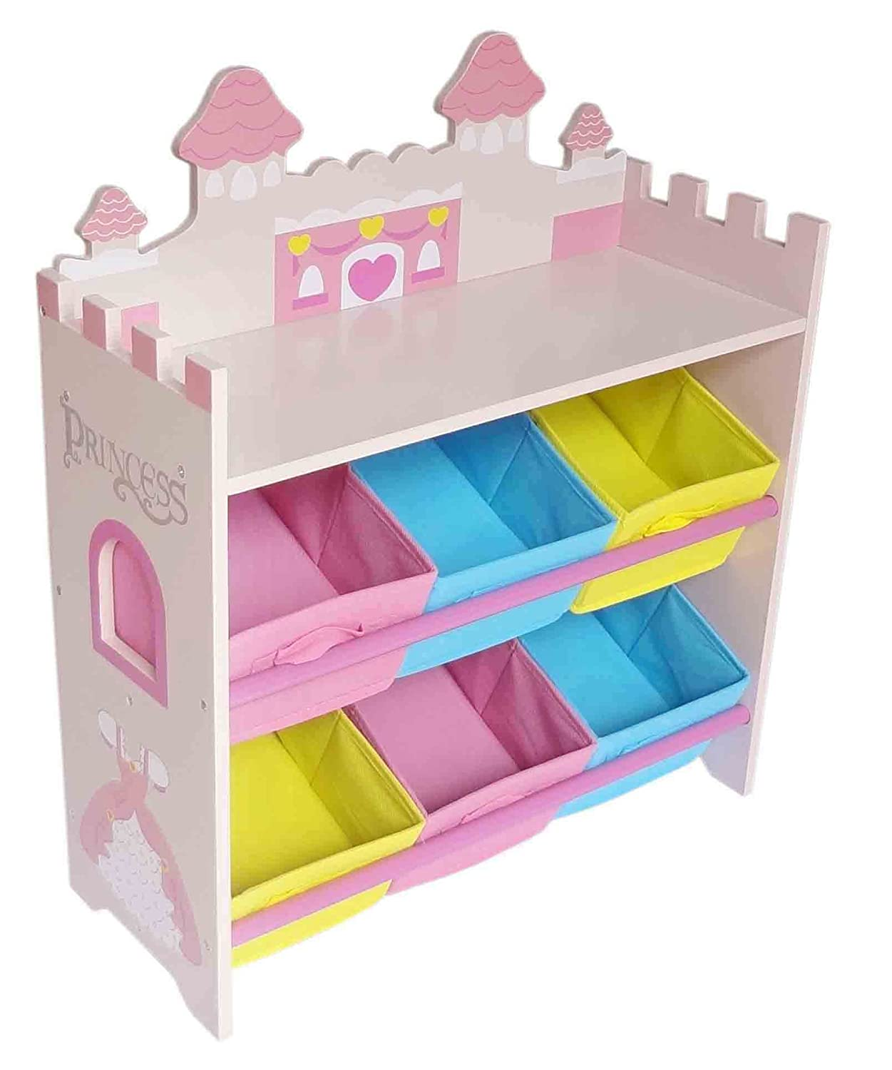 Kiddi Style Children's Sized Princess Castle Wooden Shelves With 6 Storage  Boxes