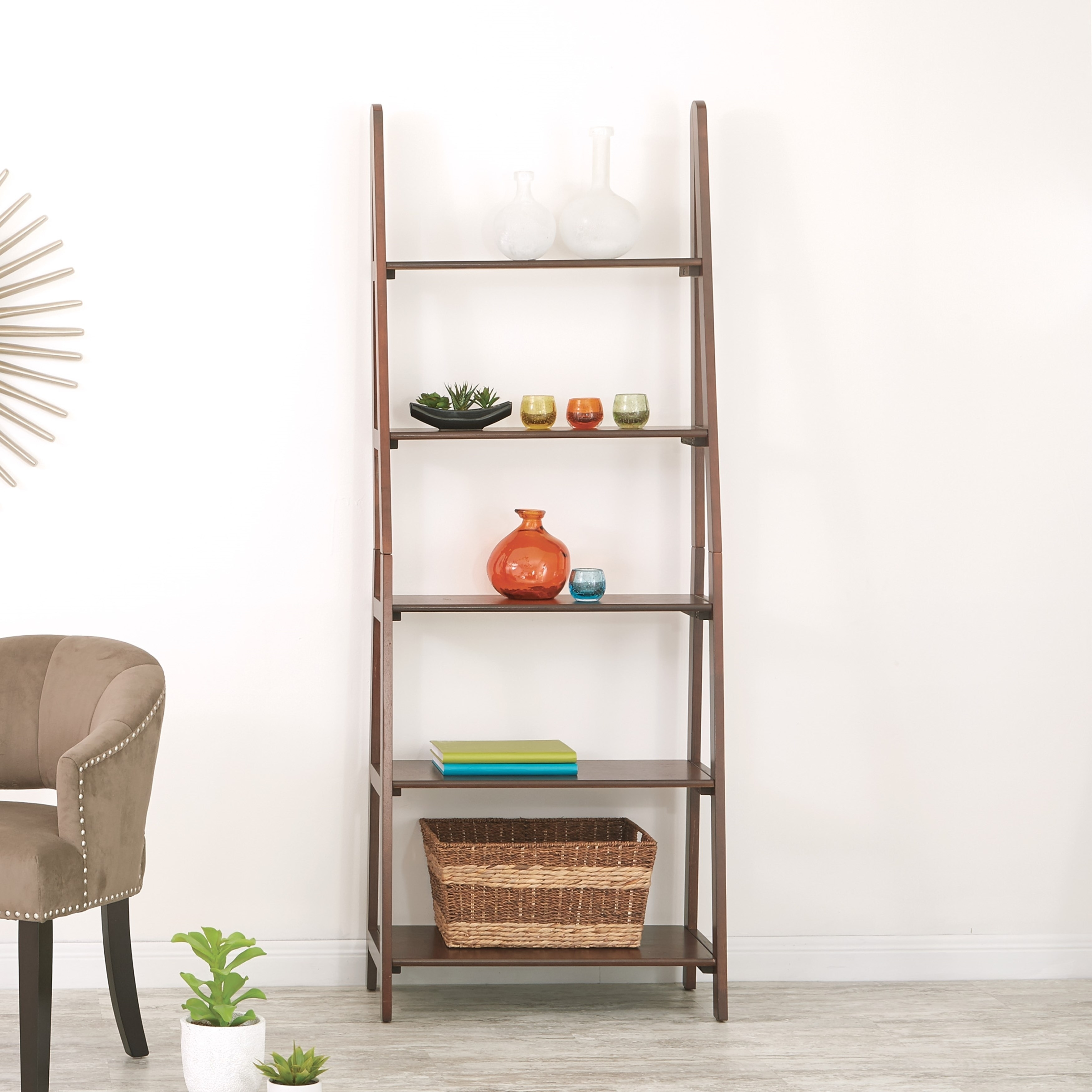 Osp Home Furnishings Espresso Ladder Bookcase With 5 Storage Shelves
