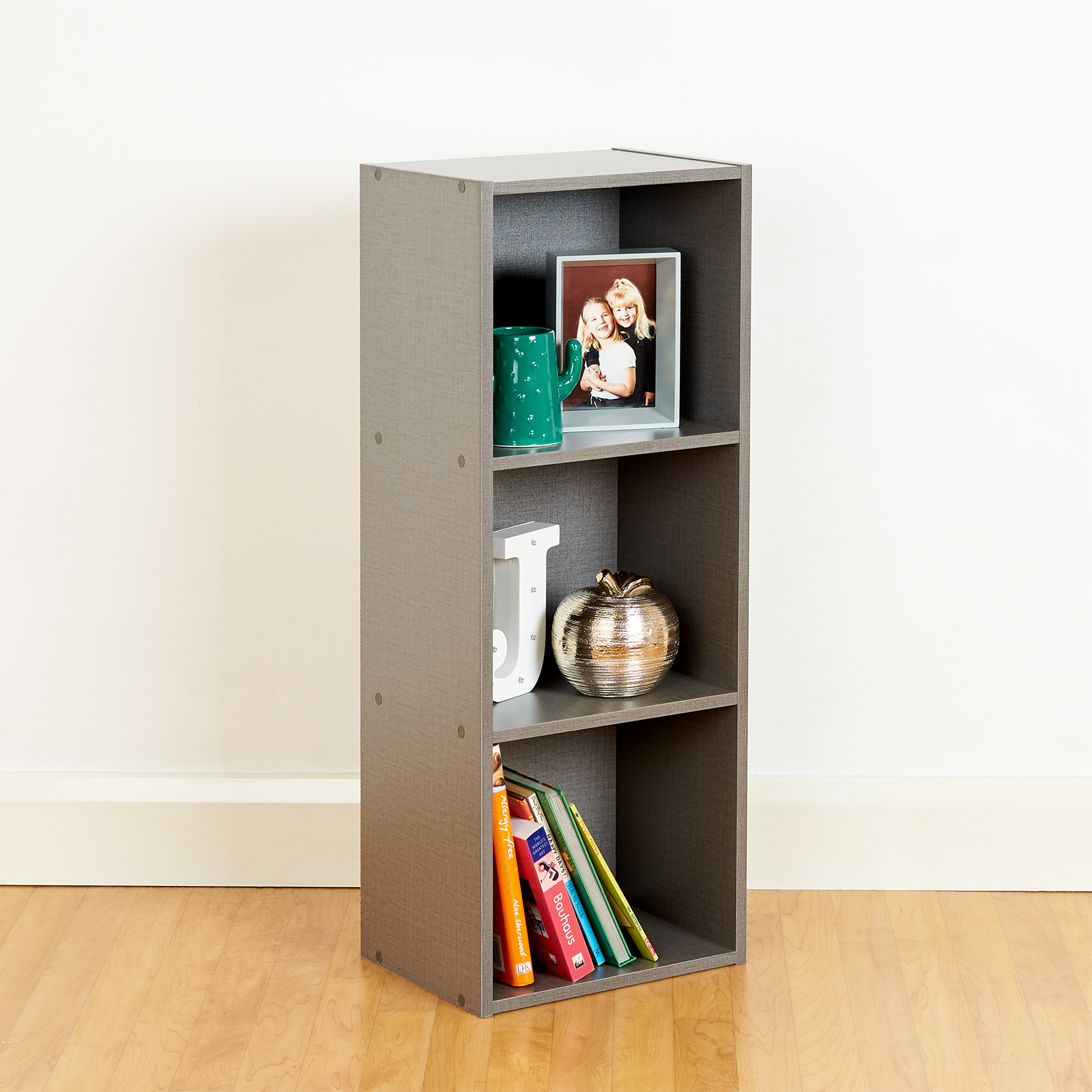 Details About 3 Tier Wooden Grey Cube Bookcase Storage Display Unit Modular  Shelving/shelves