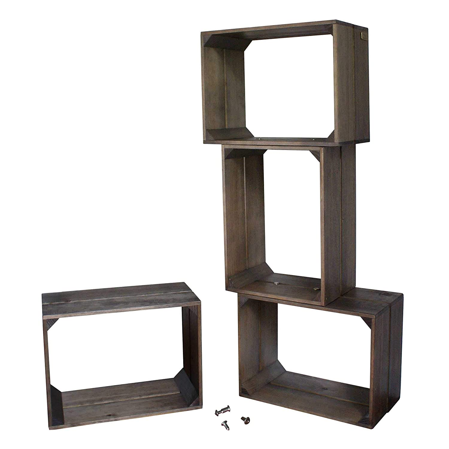 Liza Line Modular Shelving Unit With 4 Wooden Shelves, Vintage Crate Style  Bookcase Storage Display Shelf, Stand With 4 Compartments Solid Pine Wood