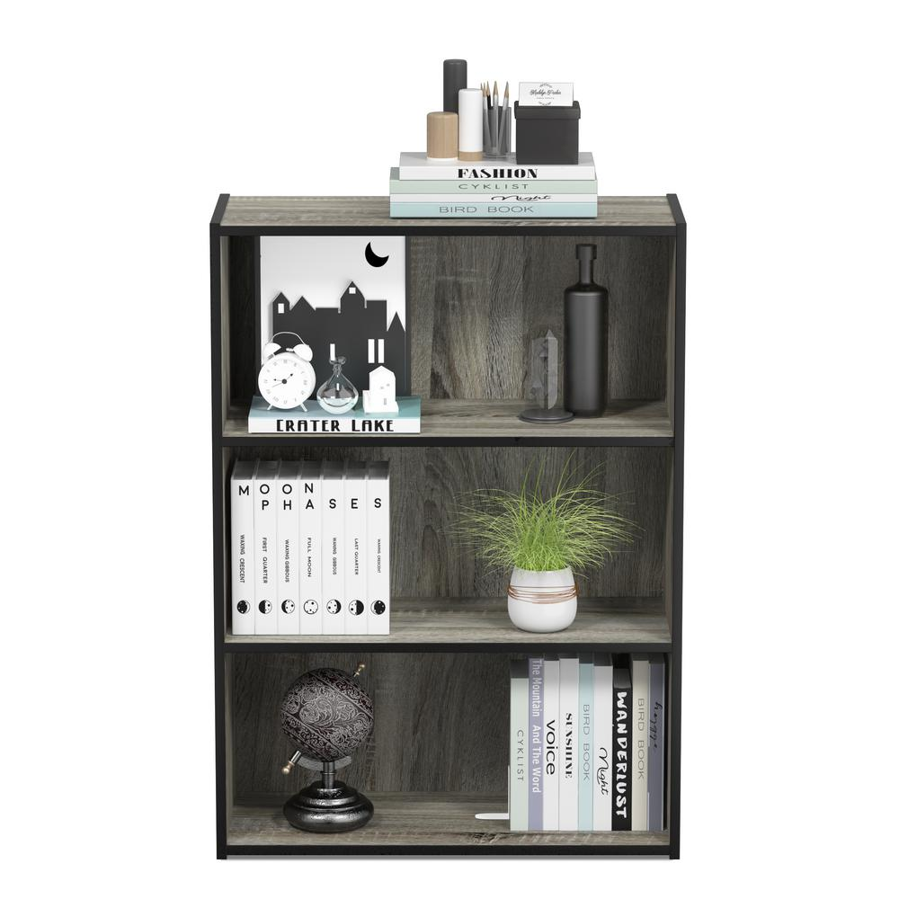 Furinno Pasir 3-shelf French Oak Grey Bookcase With Open Shelves