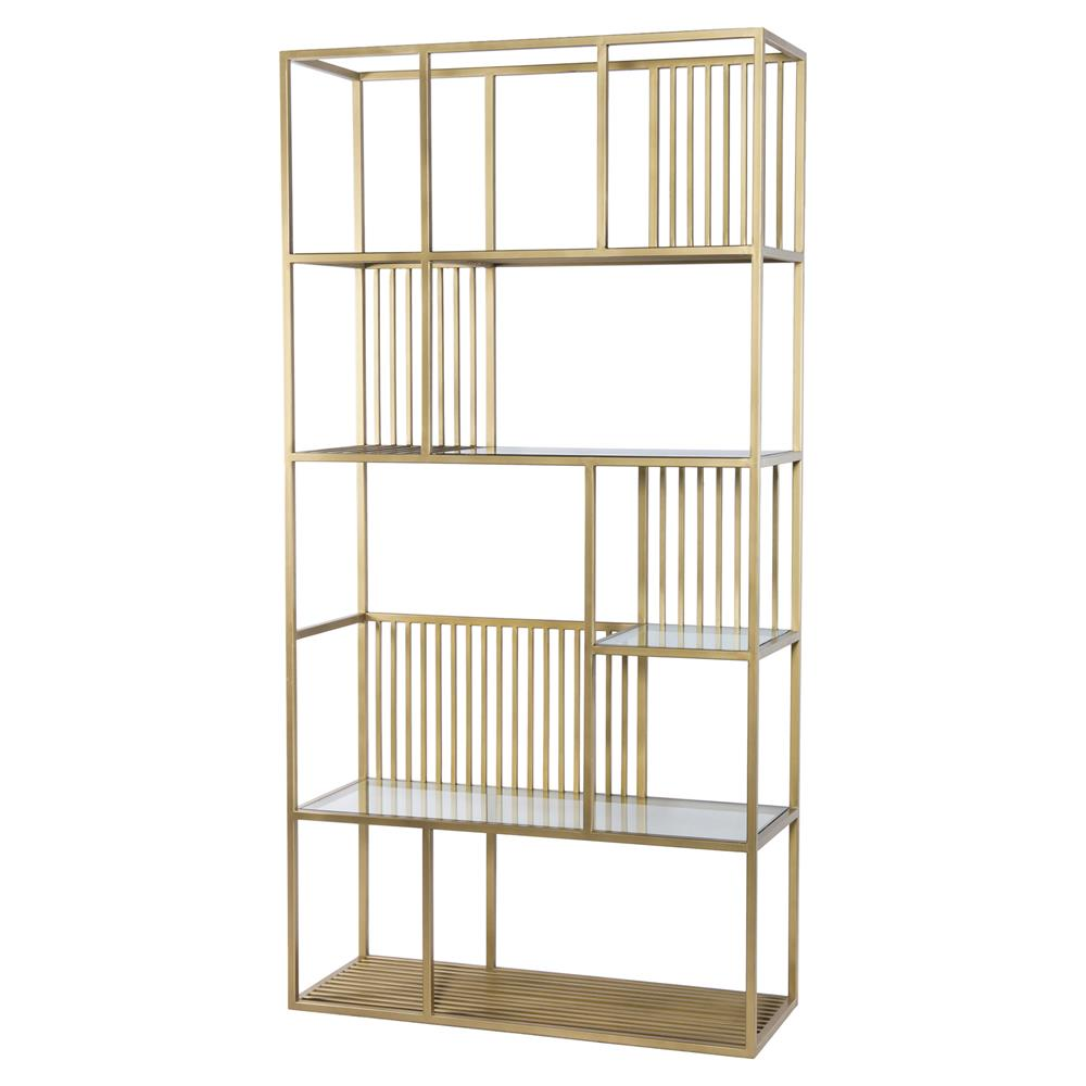 Ivy Industrial Loft Luxurious Gold Cage Style Frame Glass Shelves Bookcase