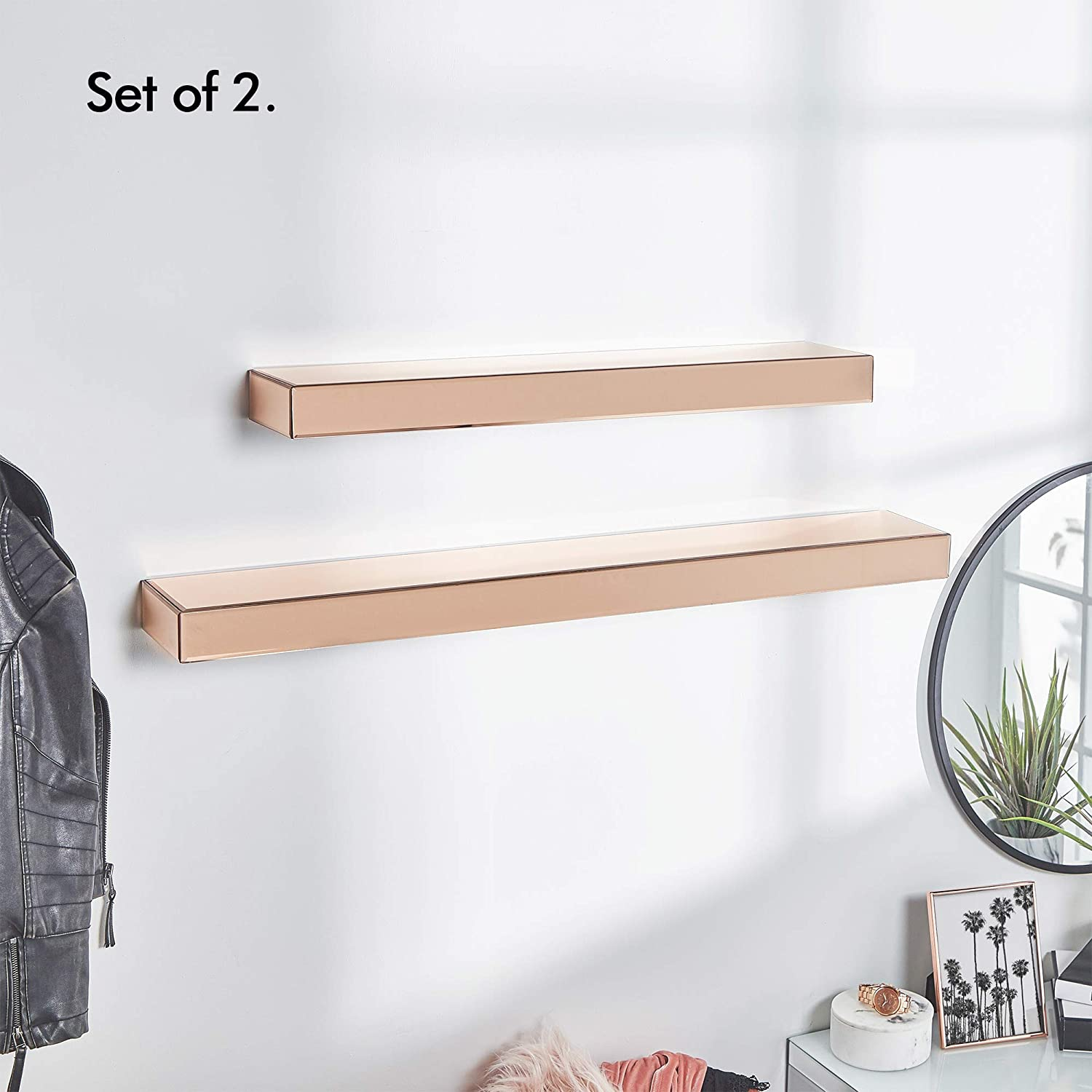 Beautify Set Of 2 Rose Gold Mirrored Furniture Shelves – Floating Display  Ledges – Large & Small – Storage – Glass – Bedroom, Living,