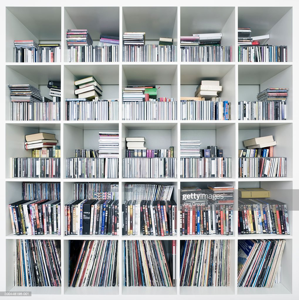 Cds Dvds And Records On Shelves Stock Photo - Getty Images