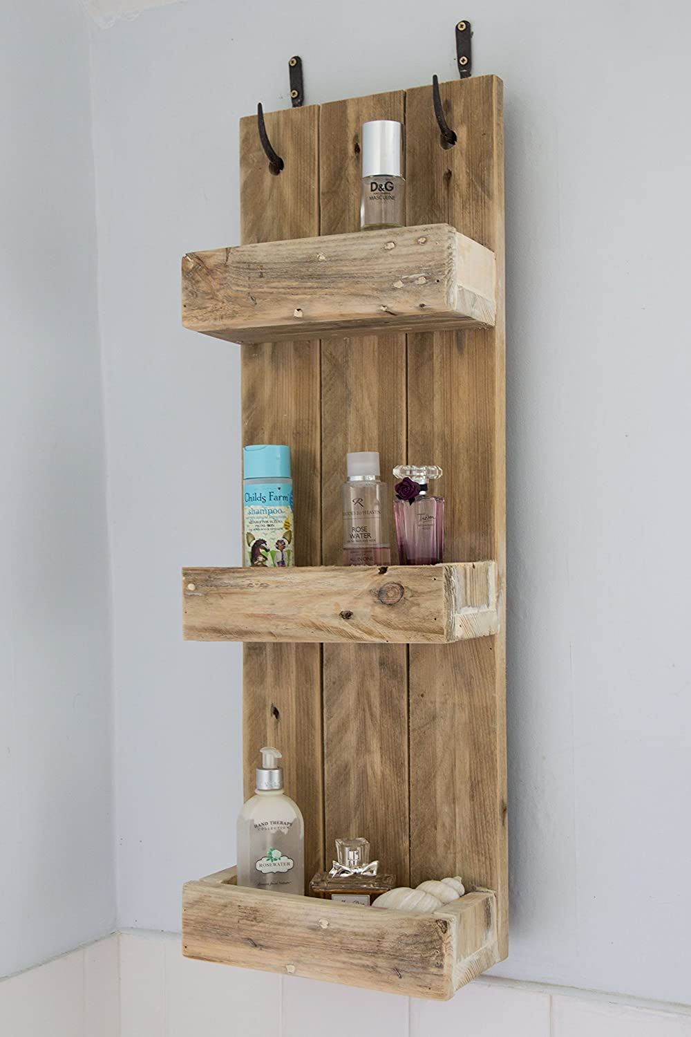 Rustic Bathroom Shelves Made From Reclaimed Pallet Wood
