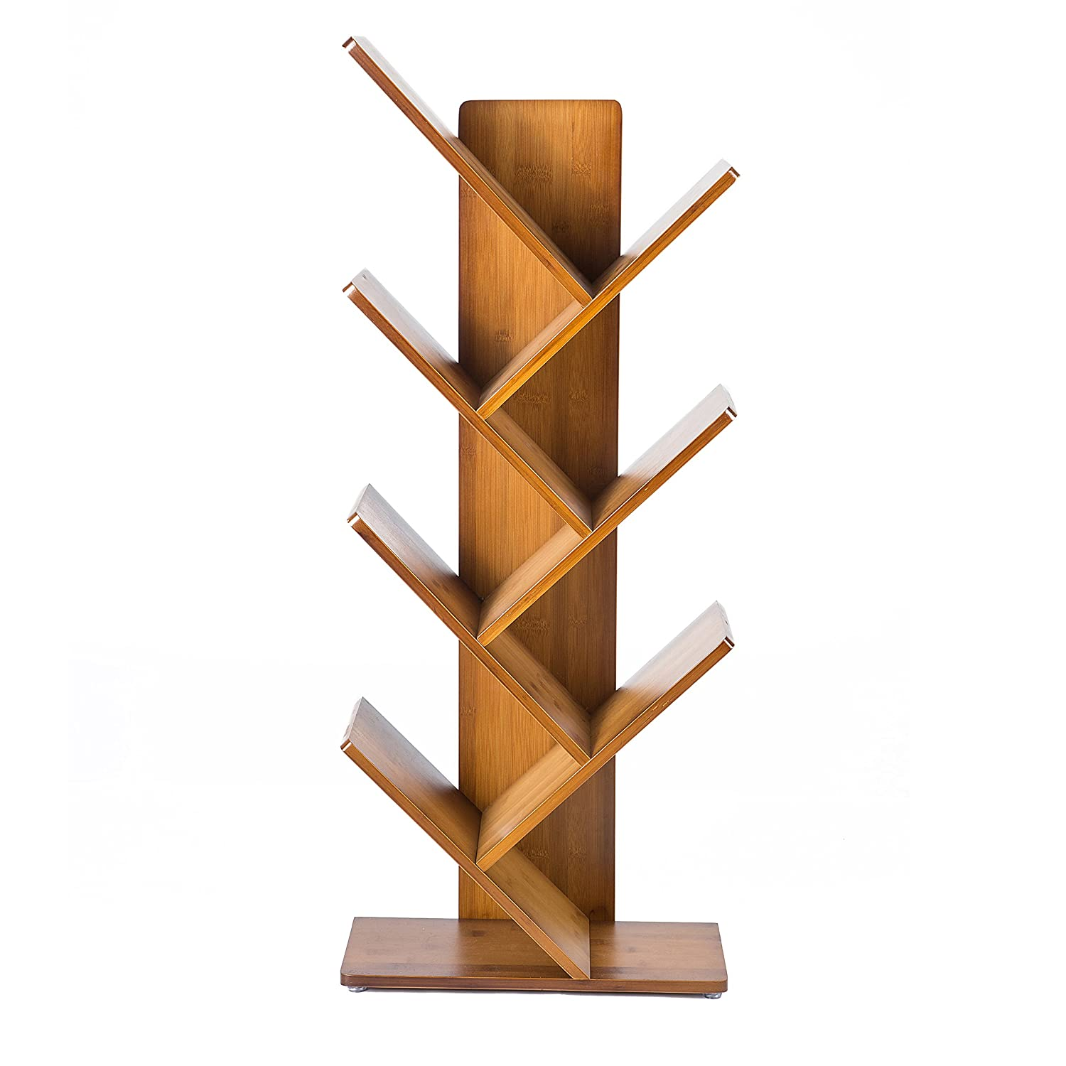 C&ahome Tree Bookshelf, 7-tier Bookcase, Bamboo Wood Book Rack, Storage  Shelves In Living Room�free-standing Cds Holder Organizer, Space Saver For