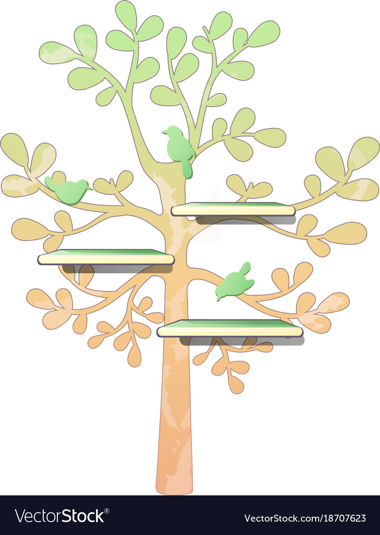 Wall Wooden Shelves And Tree Pattern With Birds