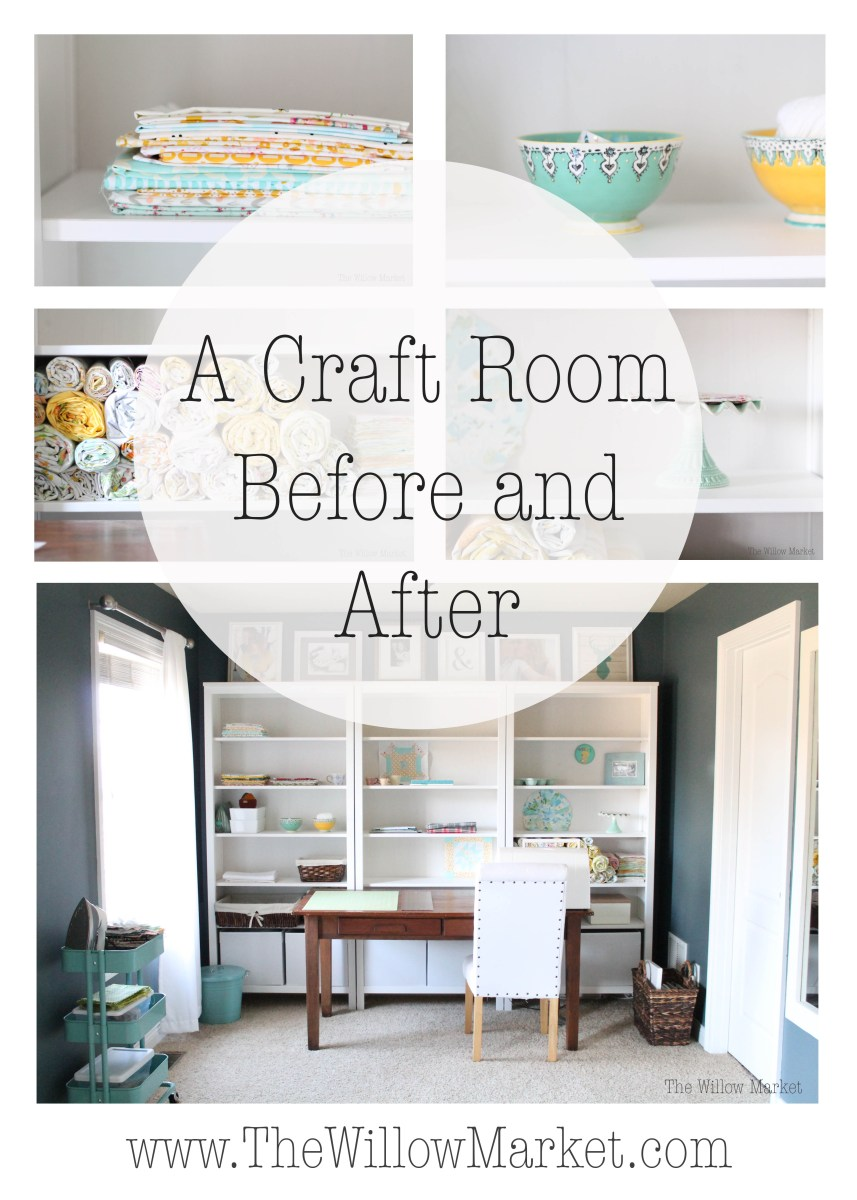 A Craft Space Before And After (using Ikea's Hemnes Book Shelves