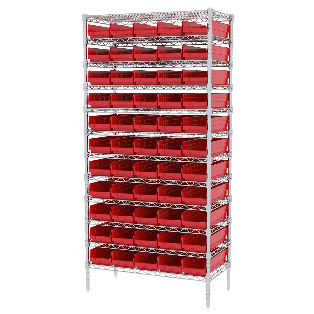 Akro-mils Aws183630138r Wire Bin Shelving System With 12 Shelves And