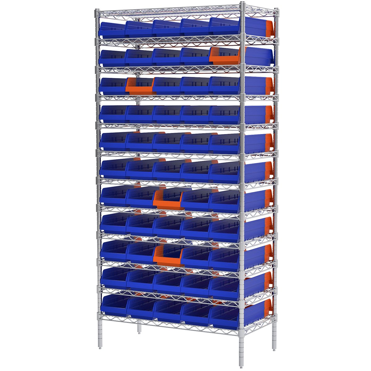 Akro-mils Aws183636468b Wire Bin Shelving System With 12 Shelves And