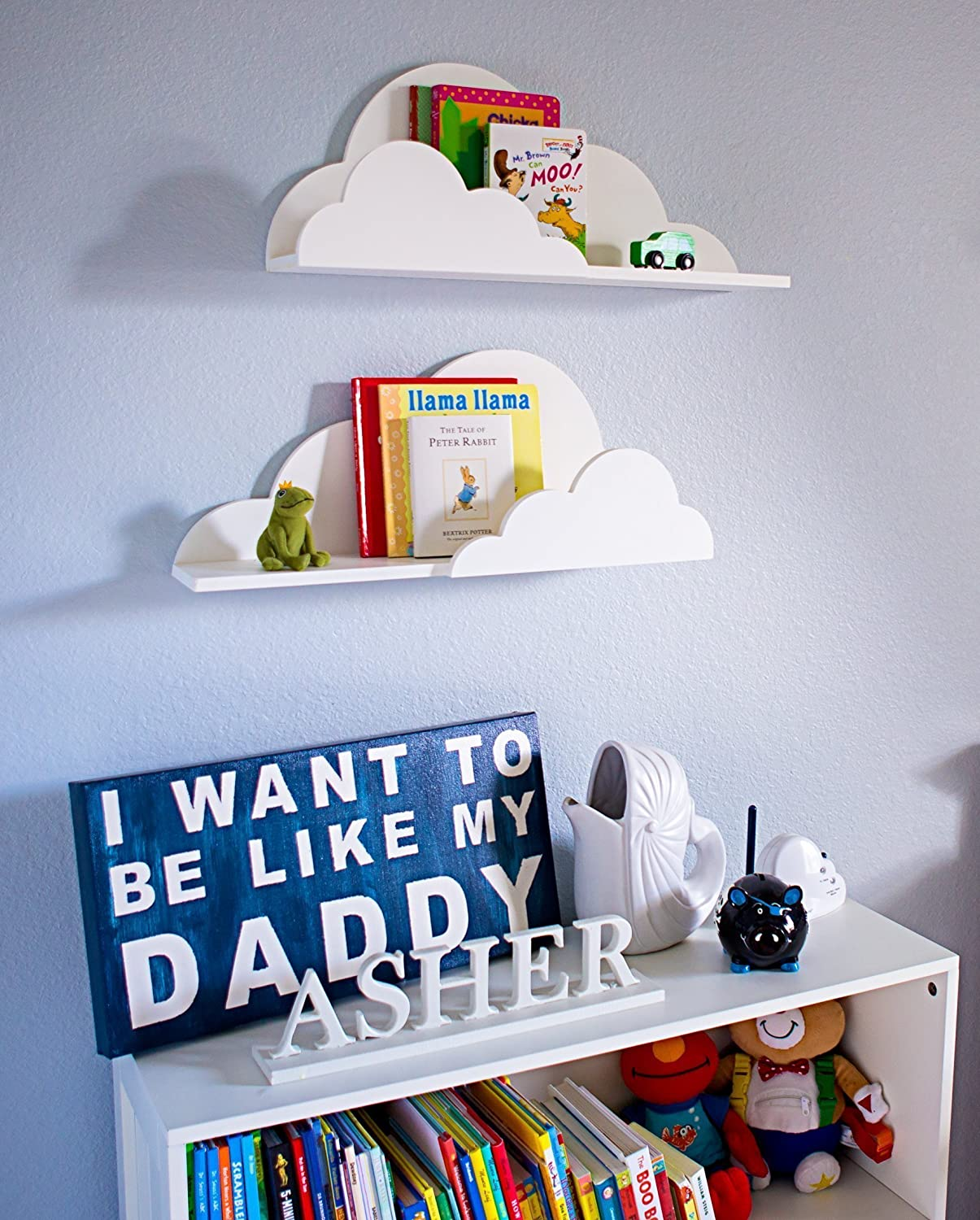 Cloud Shelf For Kids Room Baby Nursery Wall Decor Hanging Cloud Shelves -  Decorations For Bedroom Wall Artwork Clouds Shelving Baby Children Room Kids
