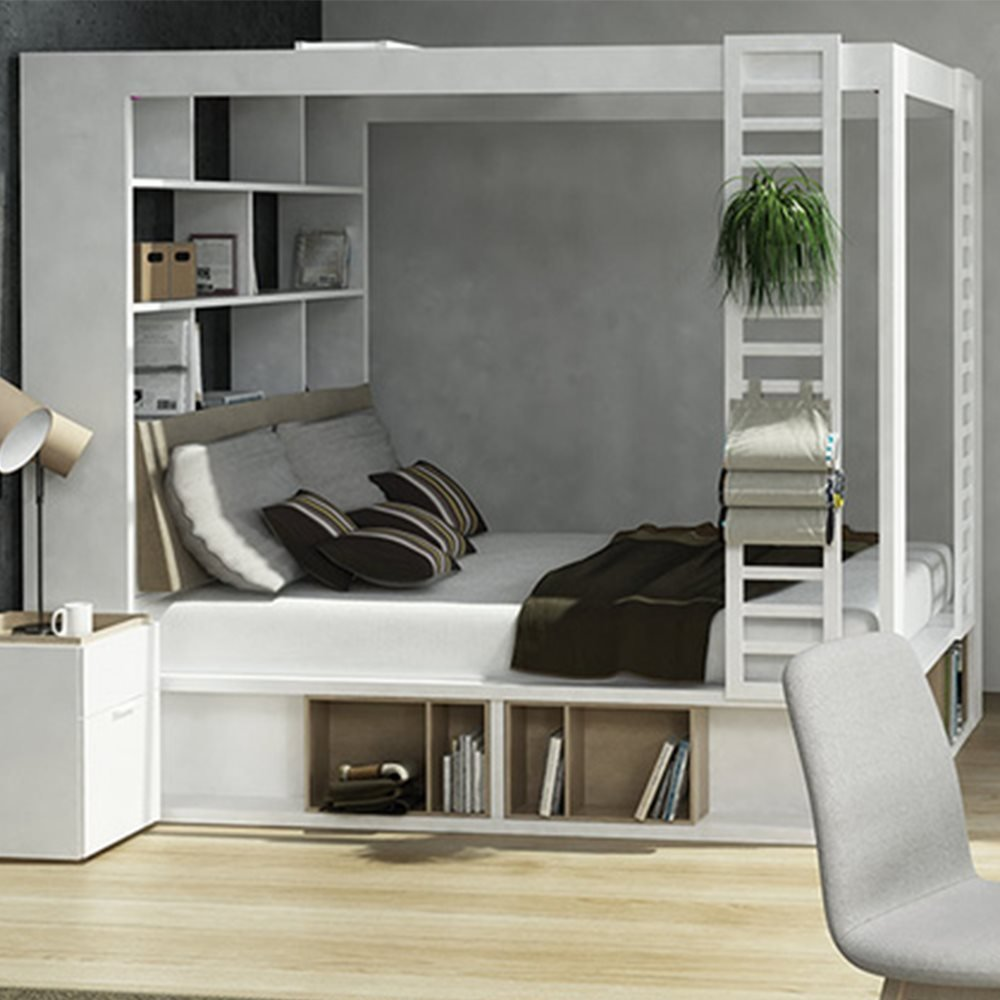 Vox 4 You 4 Poster King Bed With Storage & Shelves In White: Amazon