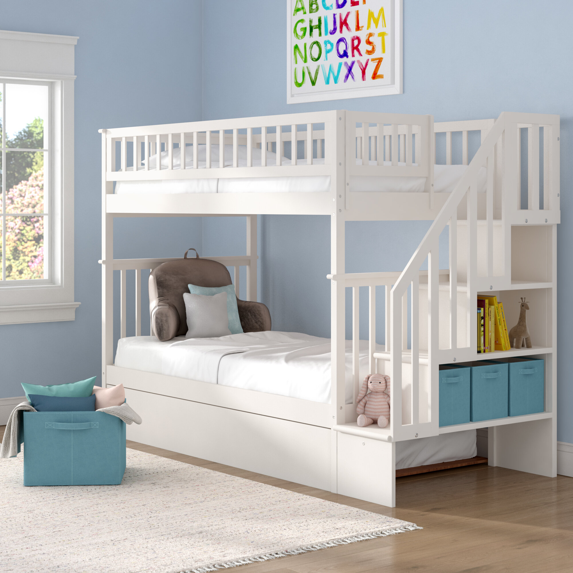 Shyann Twin Over Twin Bunk Bed With Trundle And Shelves