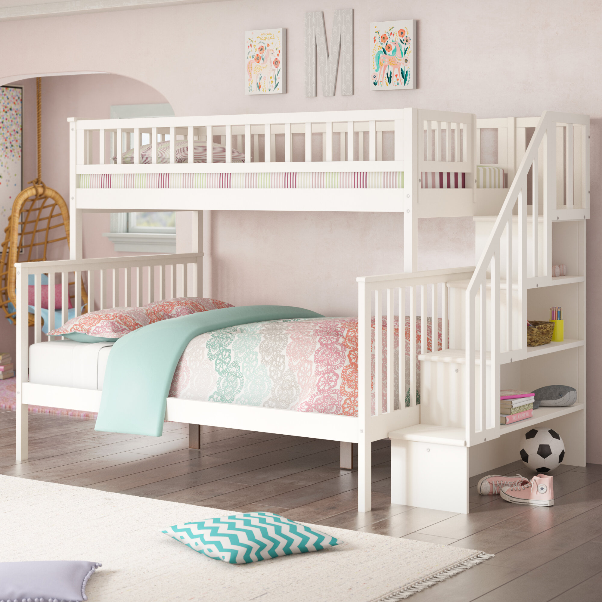 Shyann Twin Over Full Platform Bed With Shelves