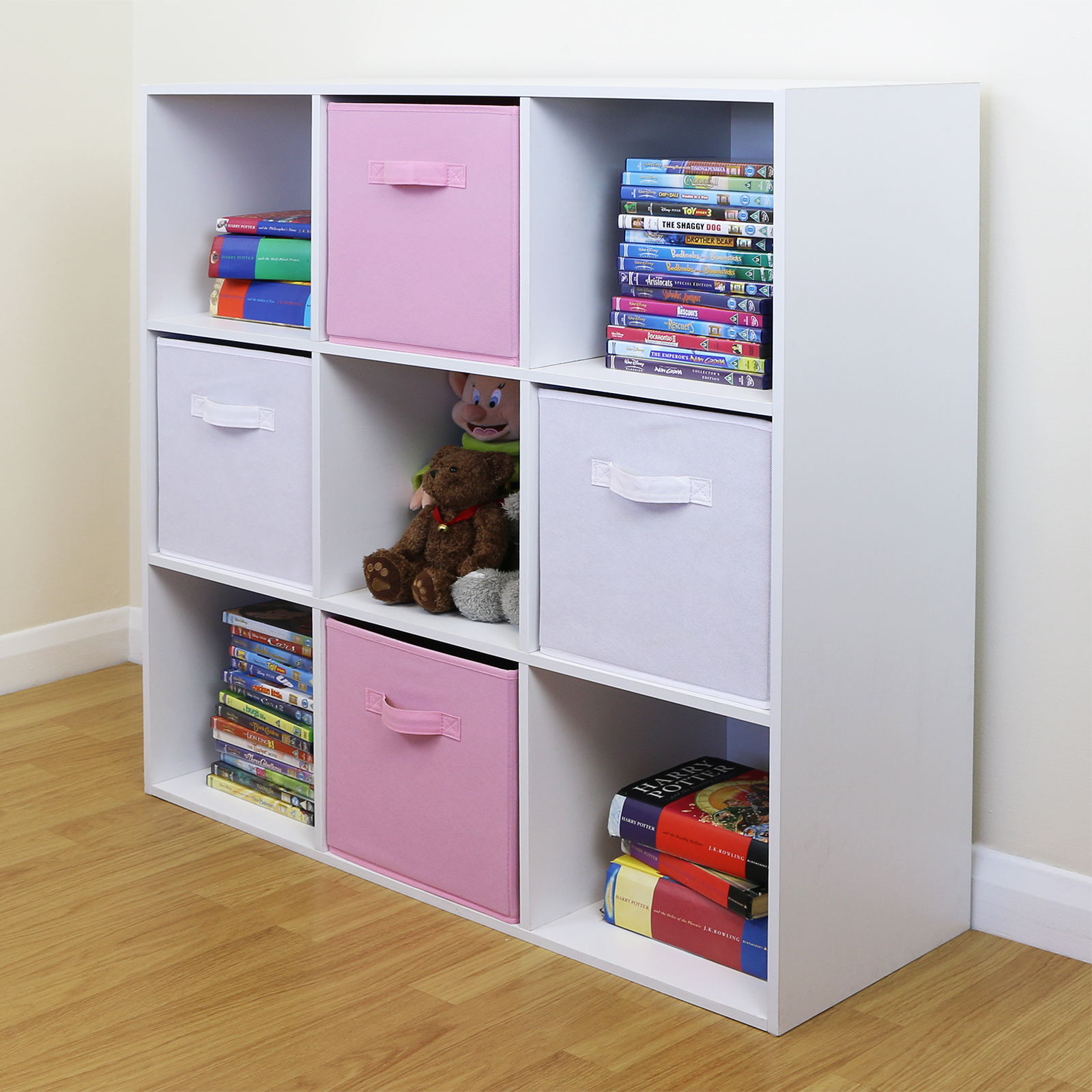 Details About 9 Cube Kids Pink & White Toy/games Storage Unit Girls/boys  Bedroom Shelves/boxes